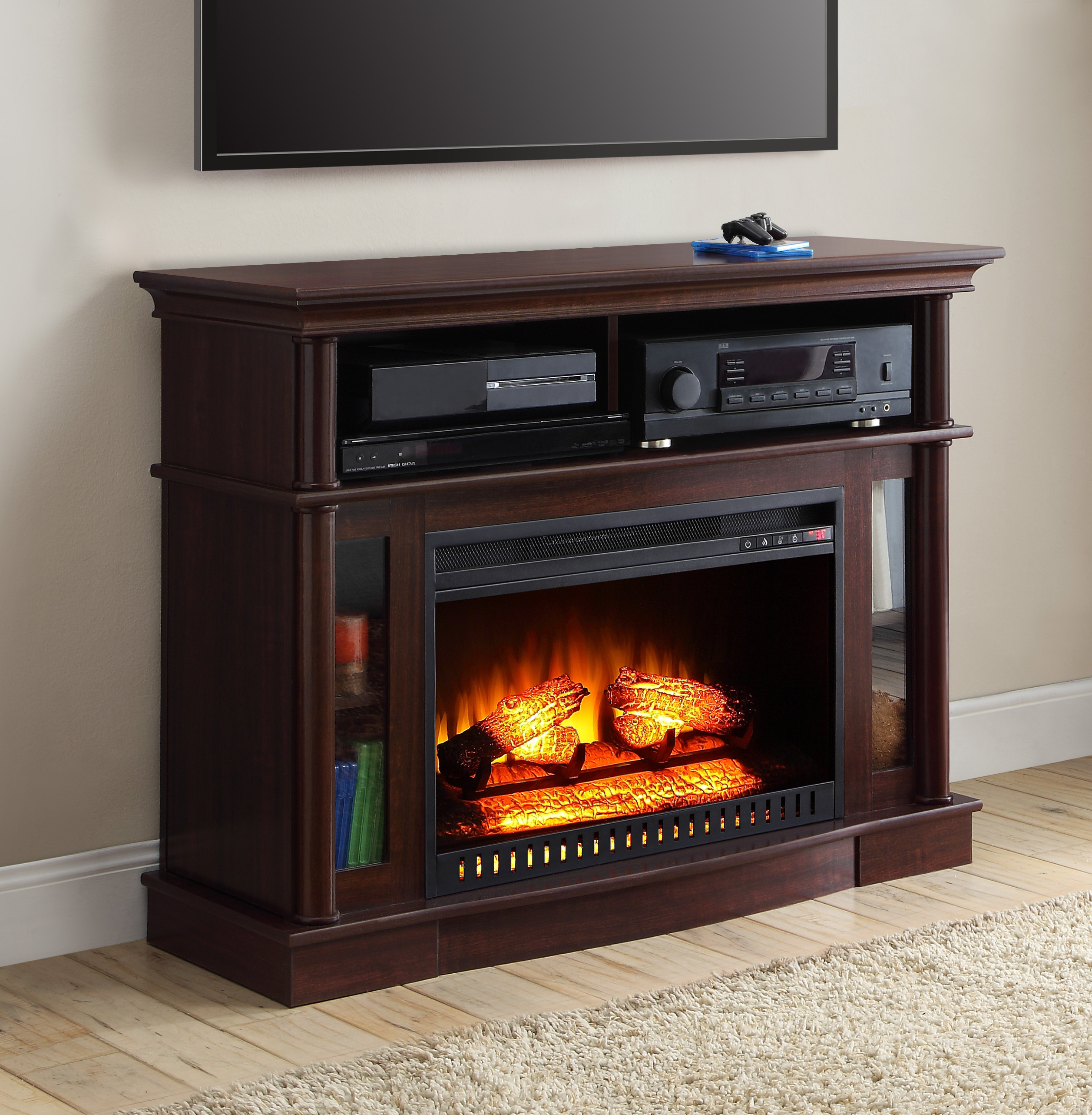 Well Known Black Tv Stand With Glass Doors Throughout Tv Stands & Entertainment Centers – Walmart (View 20 of 20)