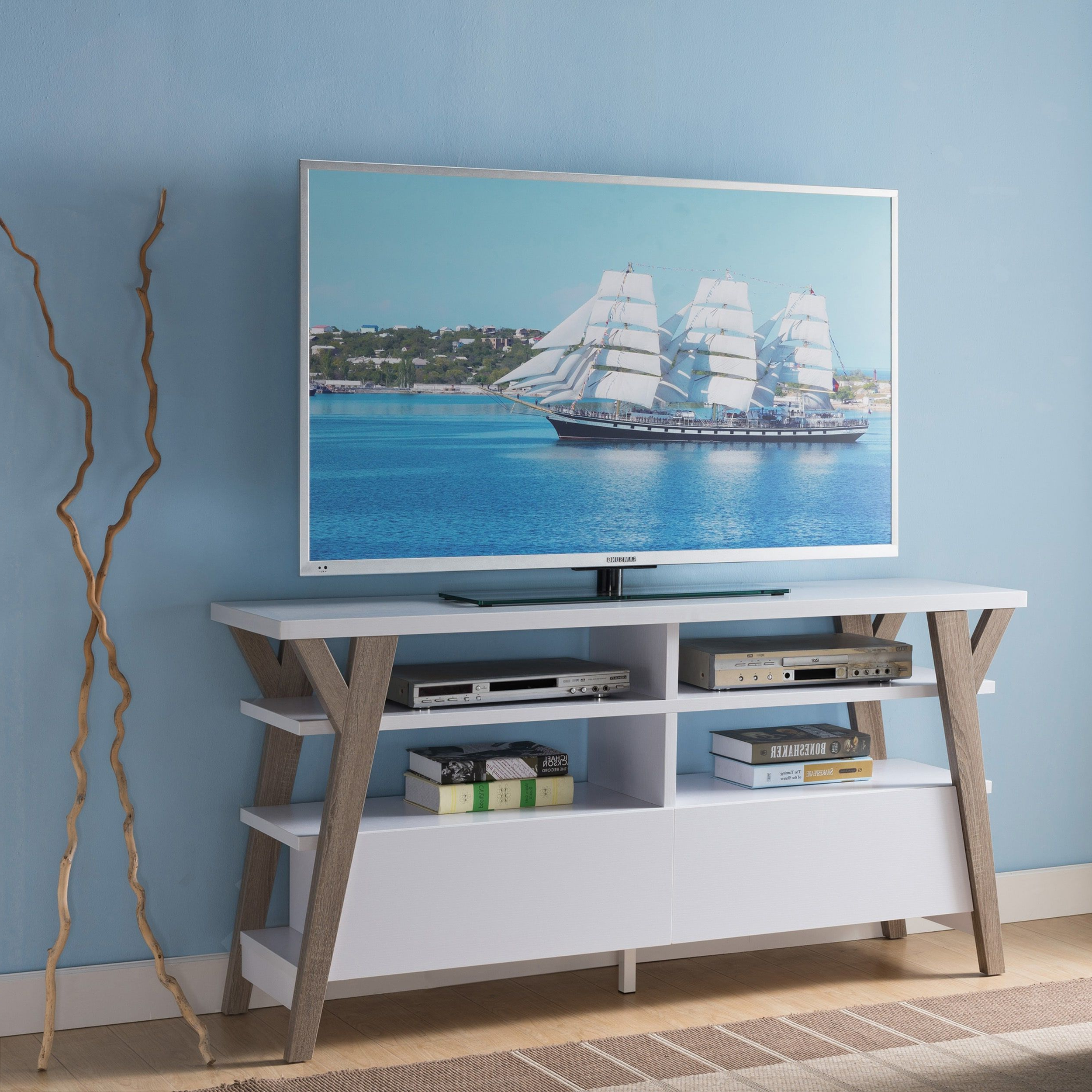 Well Known Century White 60 Inch Tv Stands In Furniture Of America Celeste White/ Light Oak Two Tone 60 Inch (View 12 of 20)