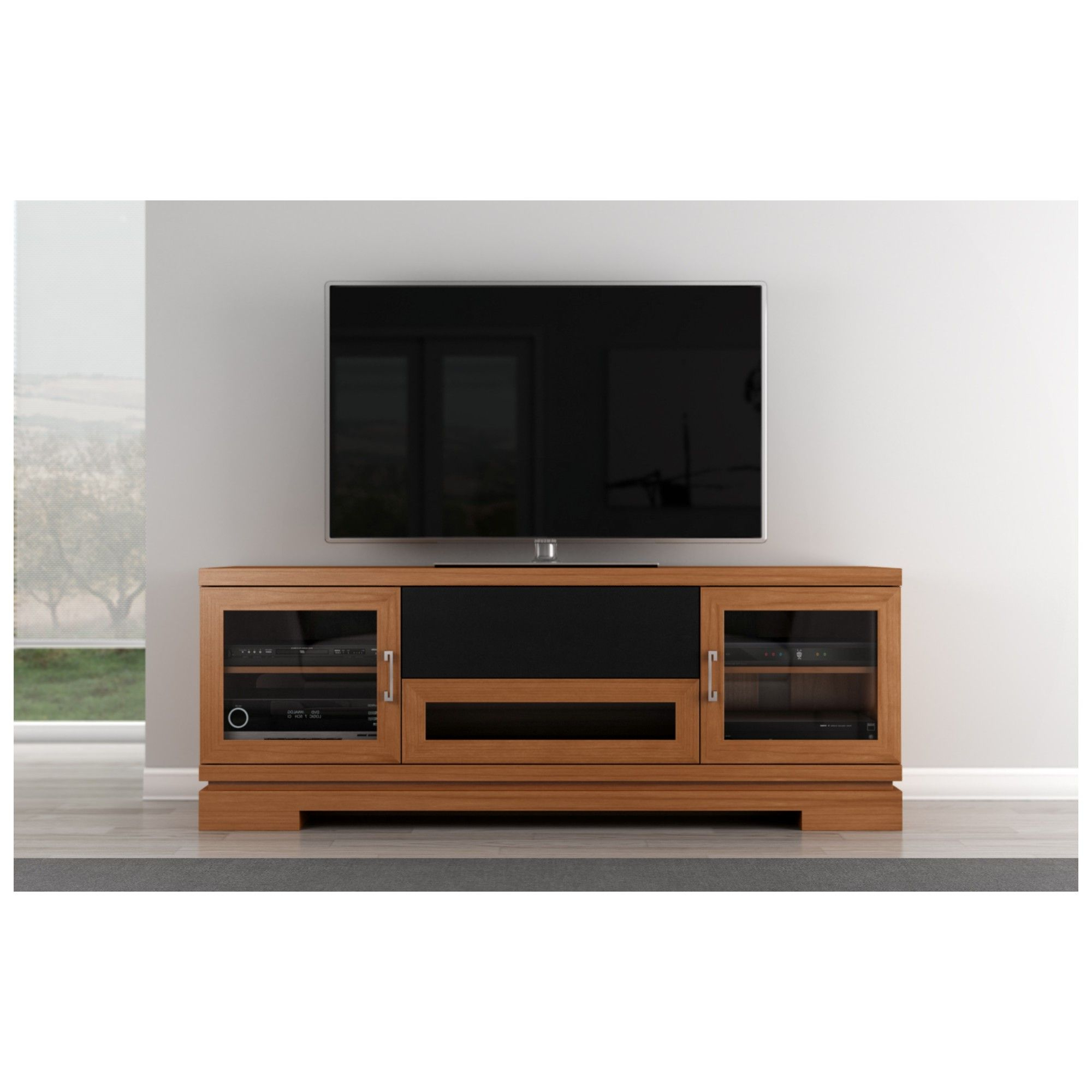 "Well Known Cherry Wood Tv Cabinets Regarding 70"" Tv Stand Contemporary Media Cabinet W/ Center Speaker Opening In (View 10 of 20)"
