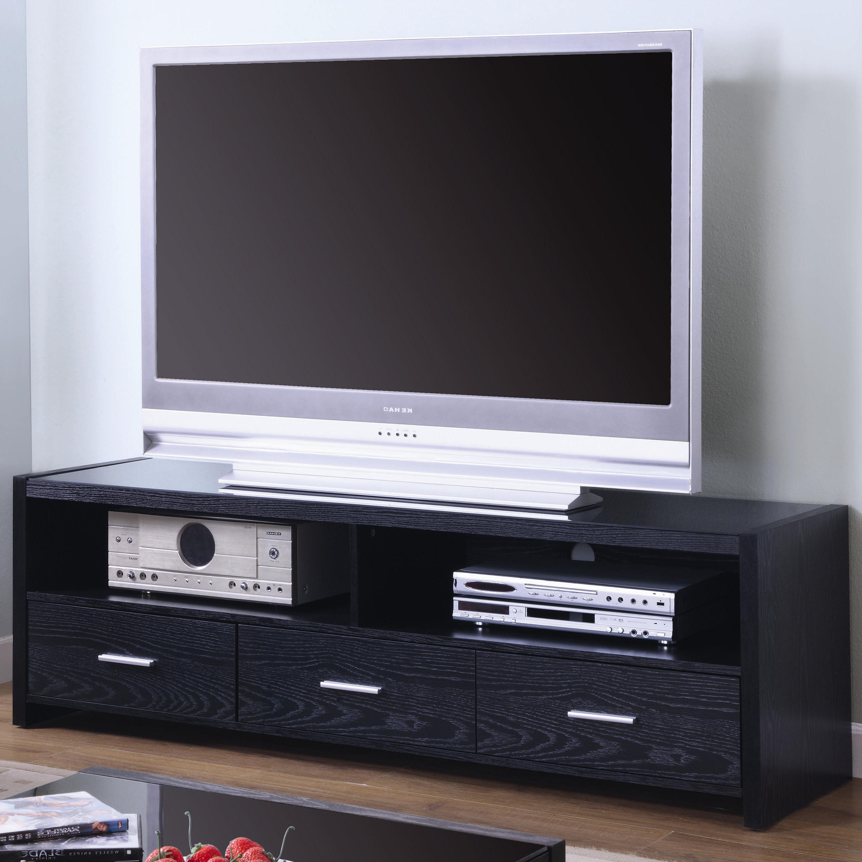 Well Known Coaster Tv Stands 700645 Contemporary Media Console With Shelves And In Silver Tv Stands (View 20 of 20)