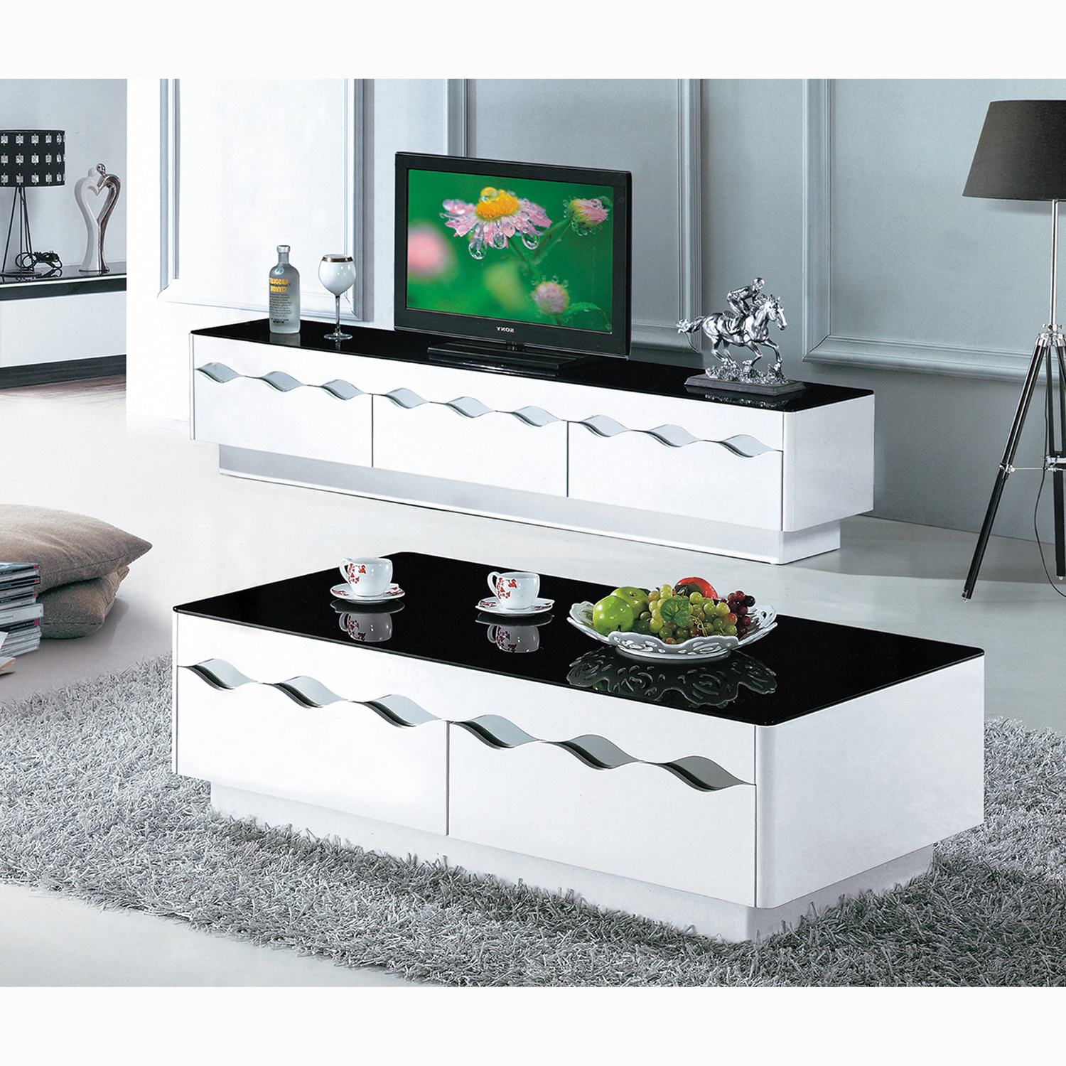 Well Known Coffee Table And Tv Console Cabinet With Doors Trays Walmart Within Tv Cabinets And Coffee Table Sets (View 2 of 20)