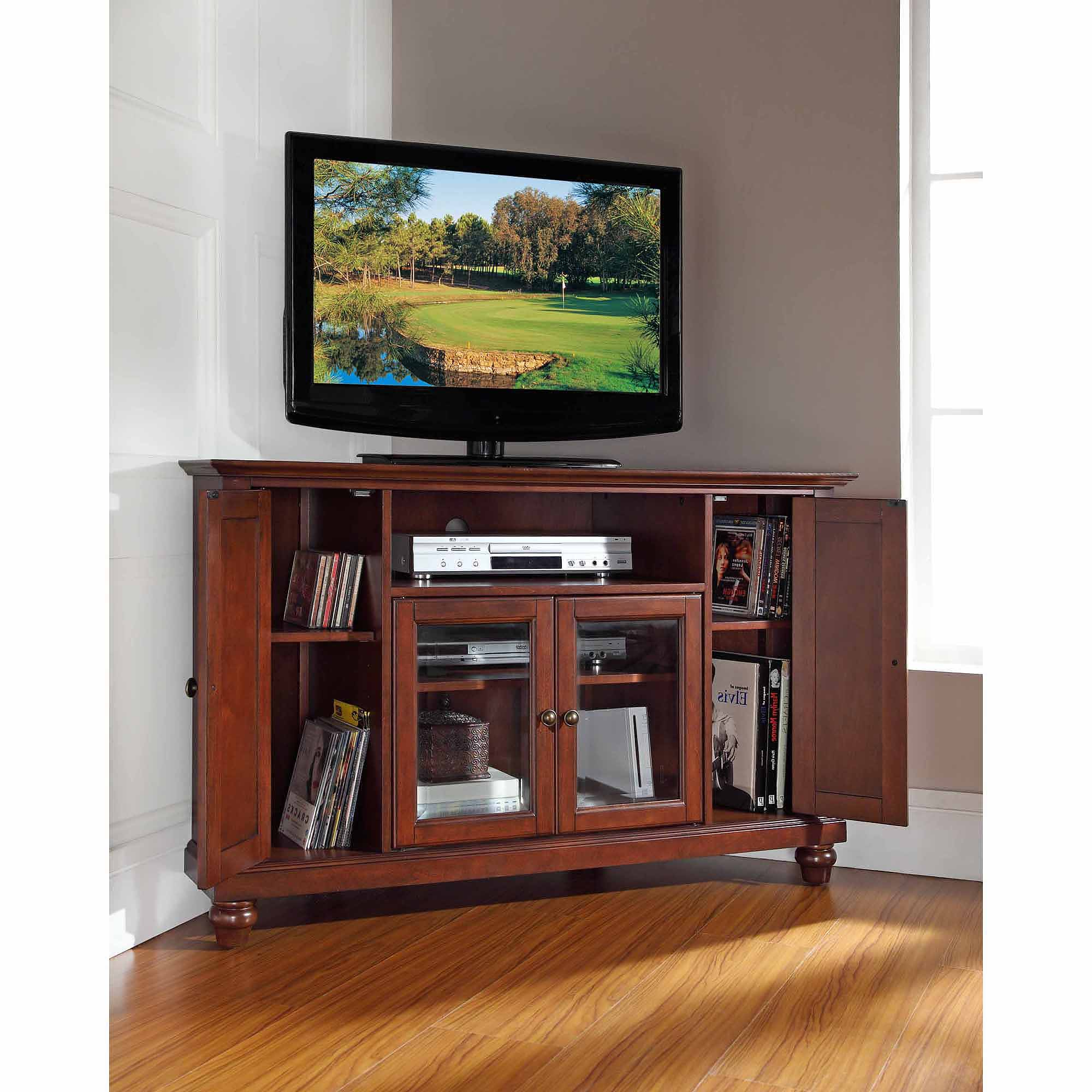 Well Known Corner Tv Cabinets For Flat Screens Within Crosley Furniture Cambridge Corner Tv Stand For Tvs Up To  (View 19 of 20)