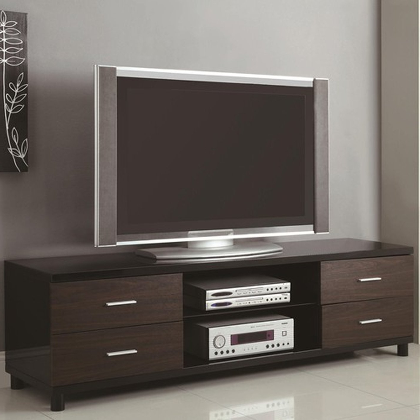Well Known Dark Wood Tv Stands Inside Brown Wood Tv Stand – Steal A Sofa Furniture Outlet Los Angeles Ca (View 3 of 20)