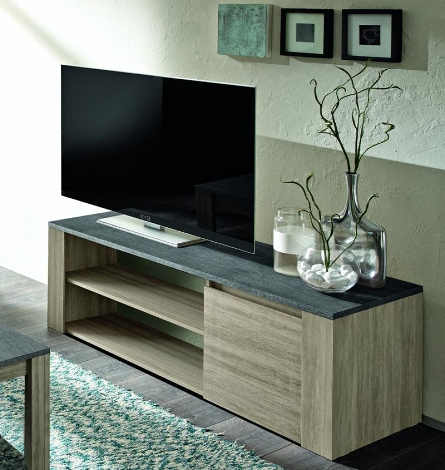 Well Known Elba – Small Oak Tv Unit With Marmor Top Imitation – Tv Stands (2021 Throughout Small Oak Tv Cabinets (View 19 of 20)