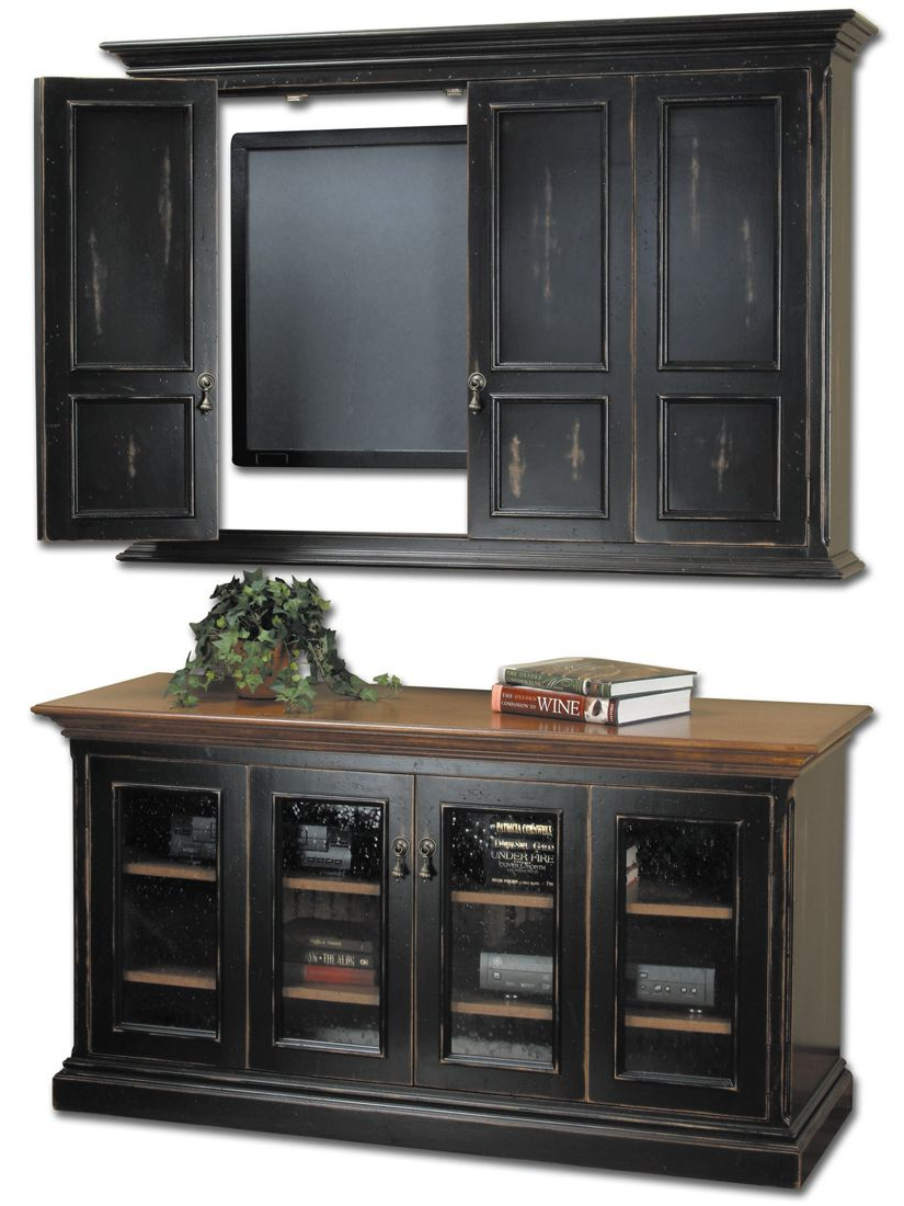 Well Known Enclosed Tv Cabinets With Doors Within Hillsboro Flat Screen Tv Wall Cabinet & Console (Gallery 8 of 20)