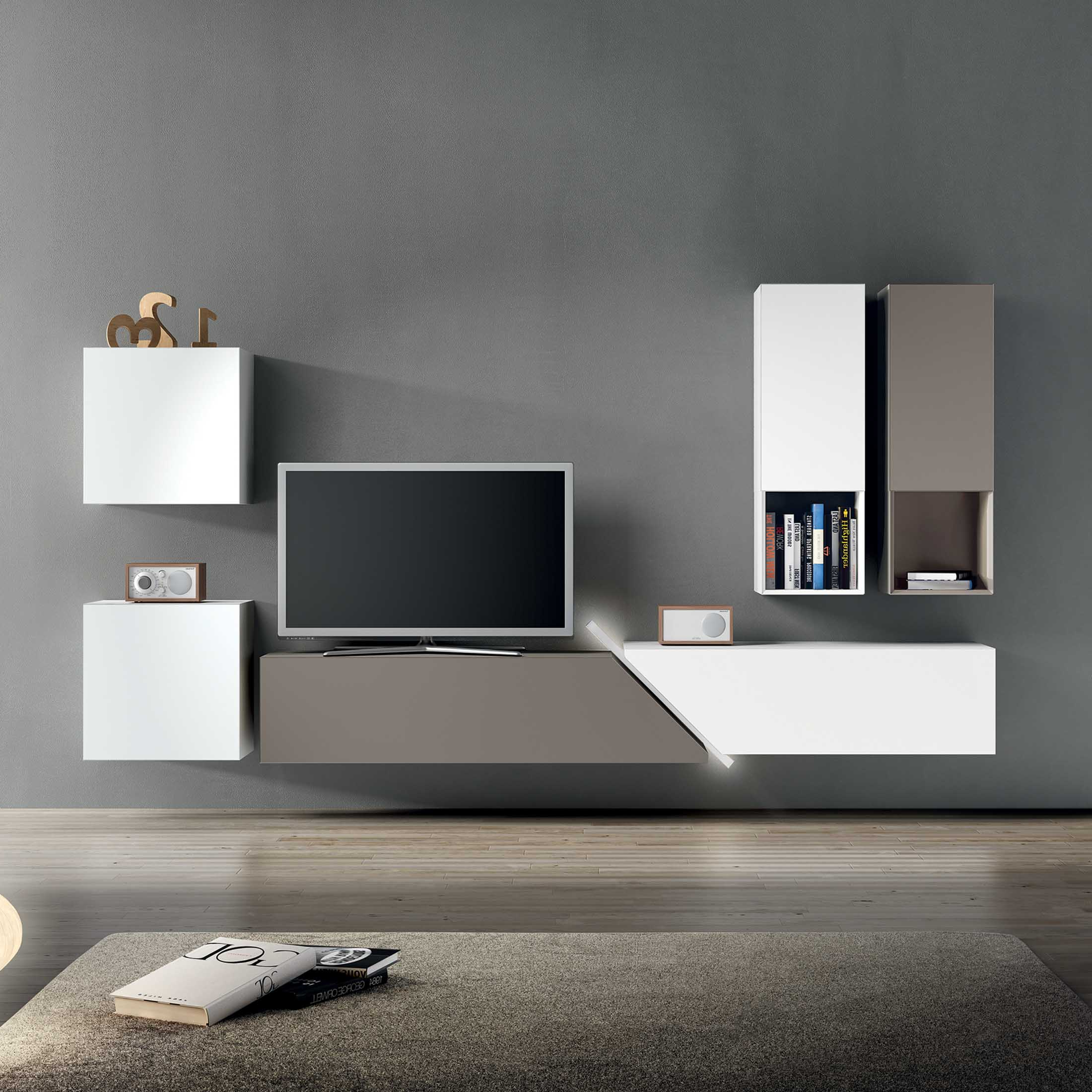 Well Known Floating Glass Tv Stands Regarding Tv Stand With Color White And Gray Tv Stand And Gray Wall Plus (View 16 of 20)
