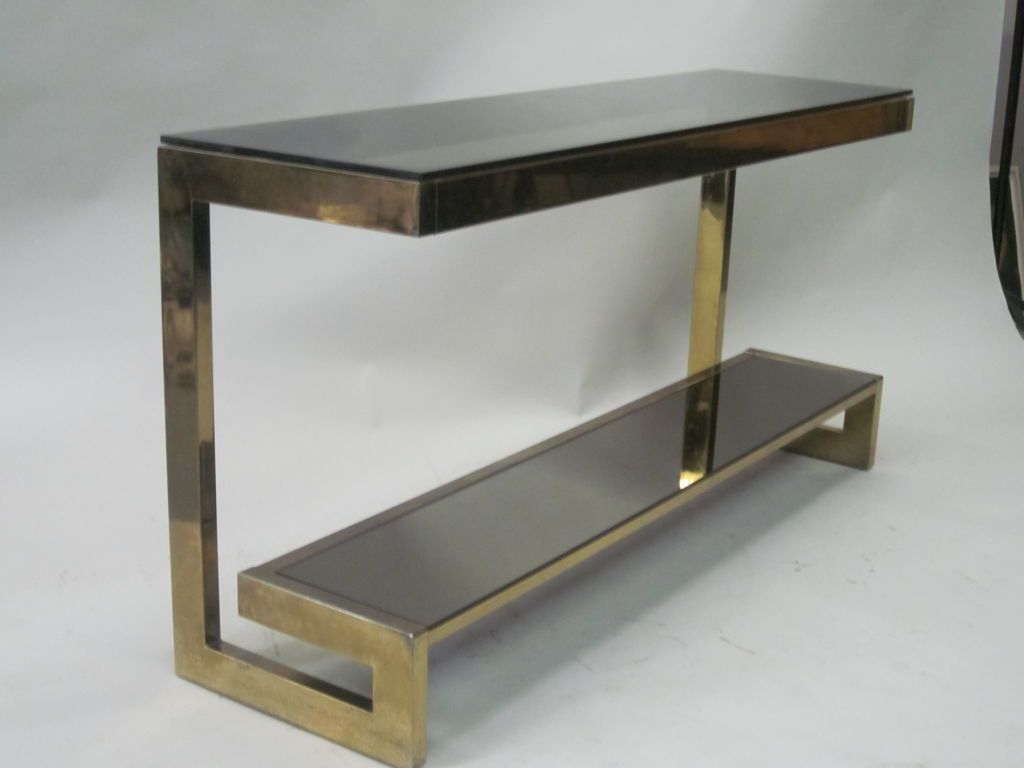 Well Known French Mid Century Modern Double Level Brass Console / Sofa Table With Phillip Brass Console Tables (View 2 of 20)