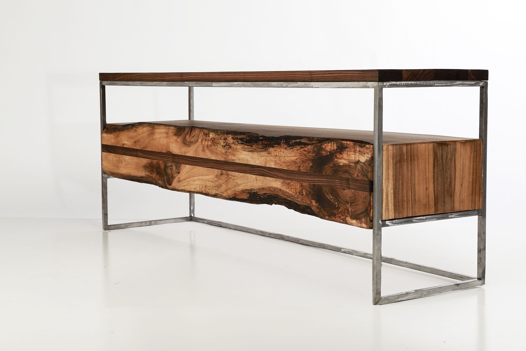Well Known Hand Made Flitch Media Console/ Tv Stand Industrial Rusticanton Within Industrial Tv Cabinets (View 7 of 20)
