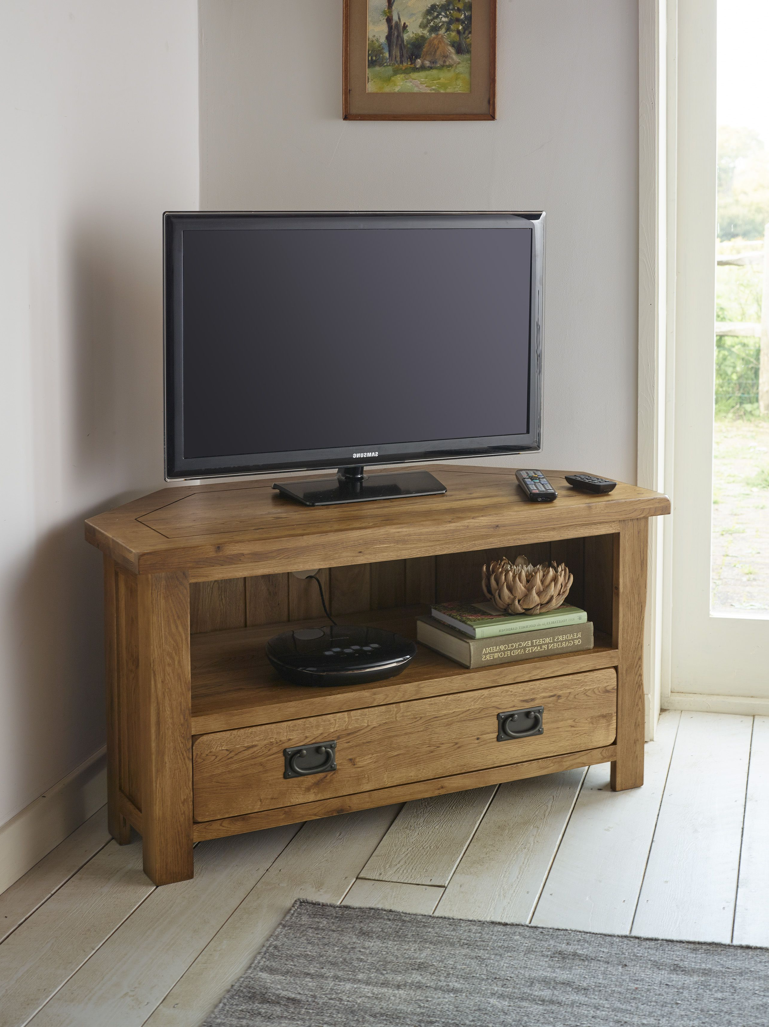Well Known Handcrafted From A Grade Solid Oak, The Original Rustic Solid Oak Throughout Rustic Corner Tv Stands (View 18 of 20)