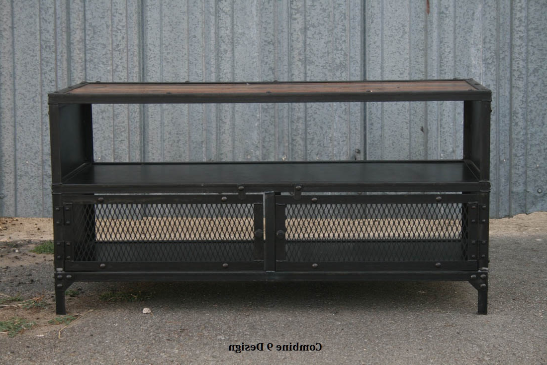 Well Known Industrial Metal Tv Stands With Vintage Industrial Tv Stand. Reclaimed Wood & Steel (View 18 of 20)