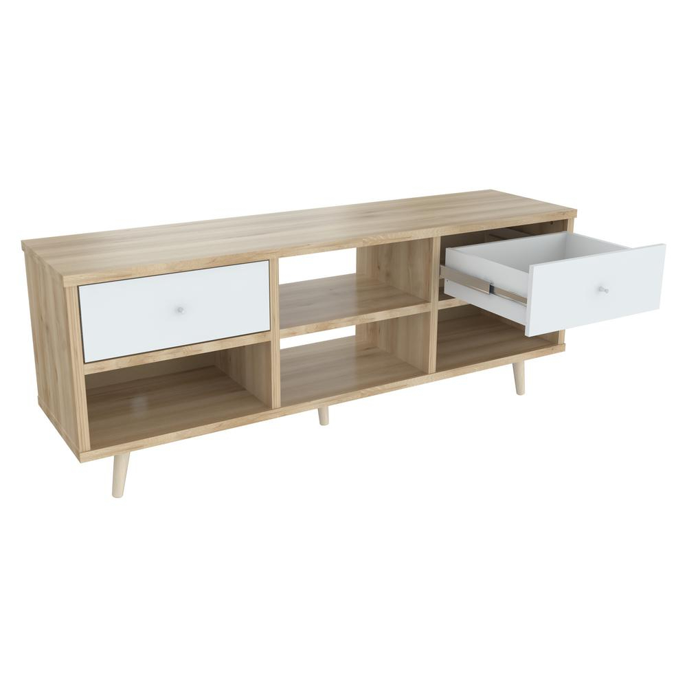 Well Known Inval Maple And Polar White Tv Stand Mtv 14419 – The Home Depot Regarding Maple Tv Stands (View 18 of 20)