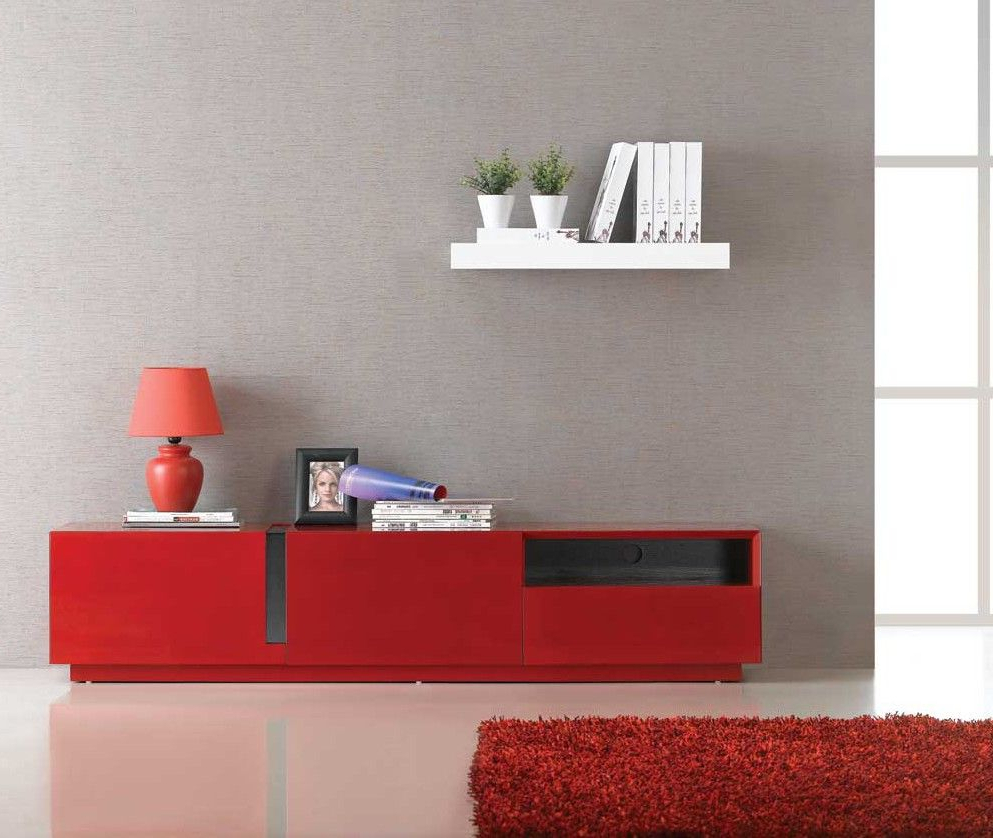 Well Known J & M Modern Red High Gloss Tv Stand Base Tv027 (17639 Pertaining To Red Tv Units (View 4 of 20)