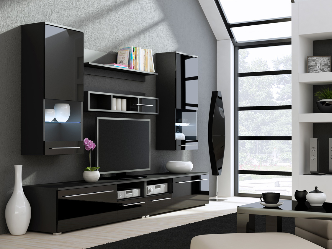 Well Known Kansas 3 – High Gloss Black Contemporary Tv Wall Unit In Black Gloss Tv Wall Units (View 5 of 20)