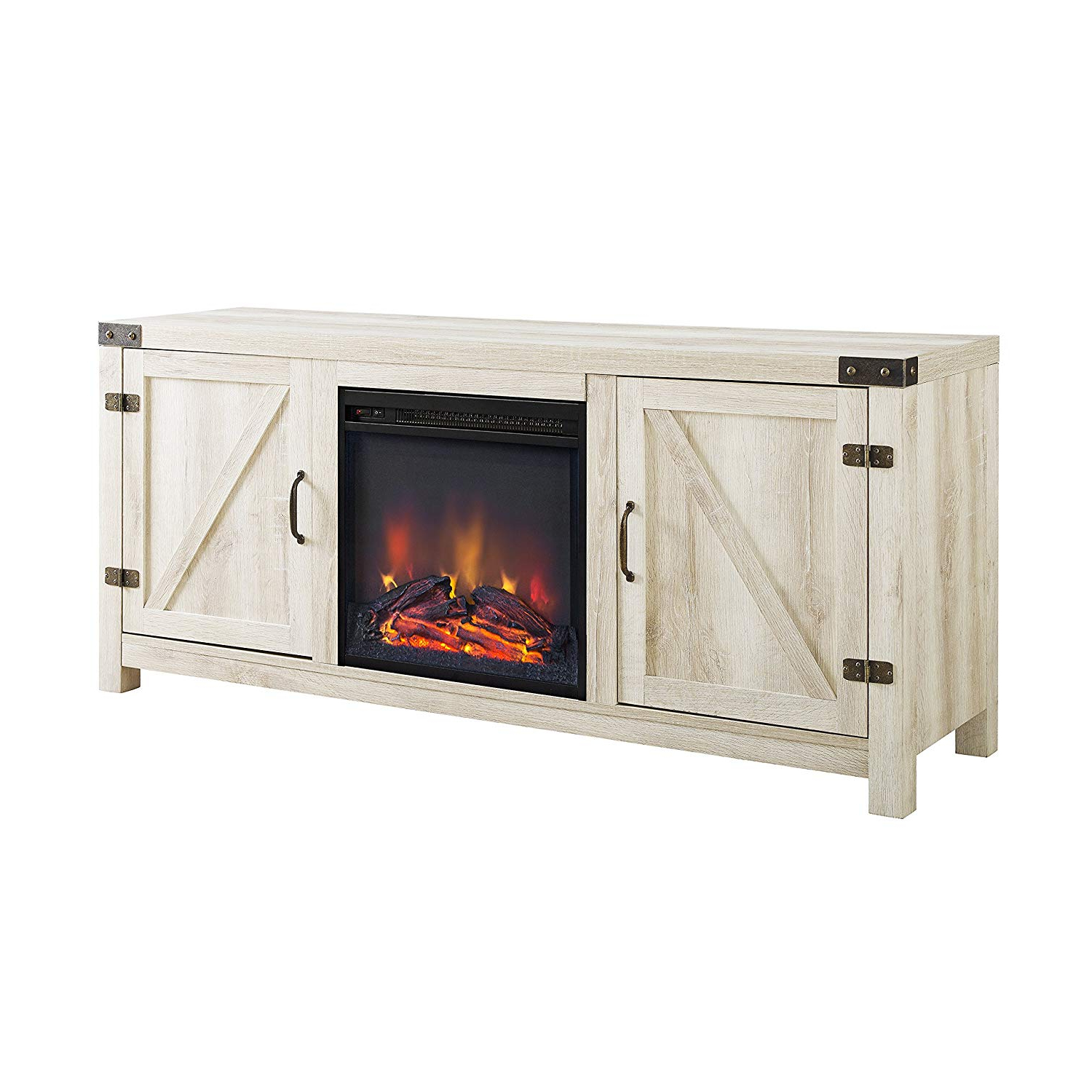 Well Known Kilian Grey 49 Inch Tv Stands For Amazon: We Furniture Az58Fpbdwo Fireplace Stand, White Oak (View 14 of 20)