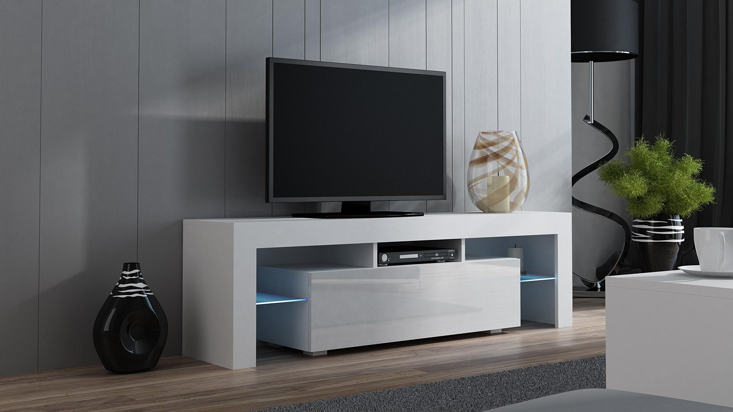 Well Known Led Tv Cabinets Regarding Tv Stand Milano 160 White – Modern Led Tv Cabinet – Tv Console Fit (View 9 of 20)