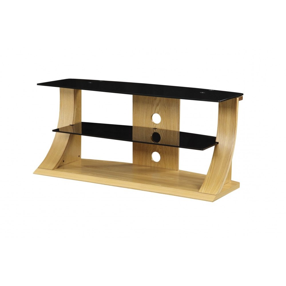 Well Known Light Modern Stylish Wooden Veneer Oak Tv Stand Glass Intended For Black Glass Tv Stands (View 19 of 20)