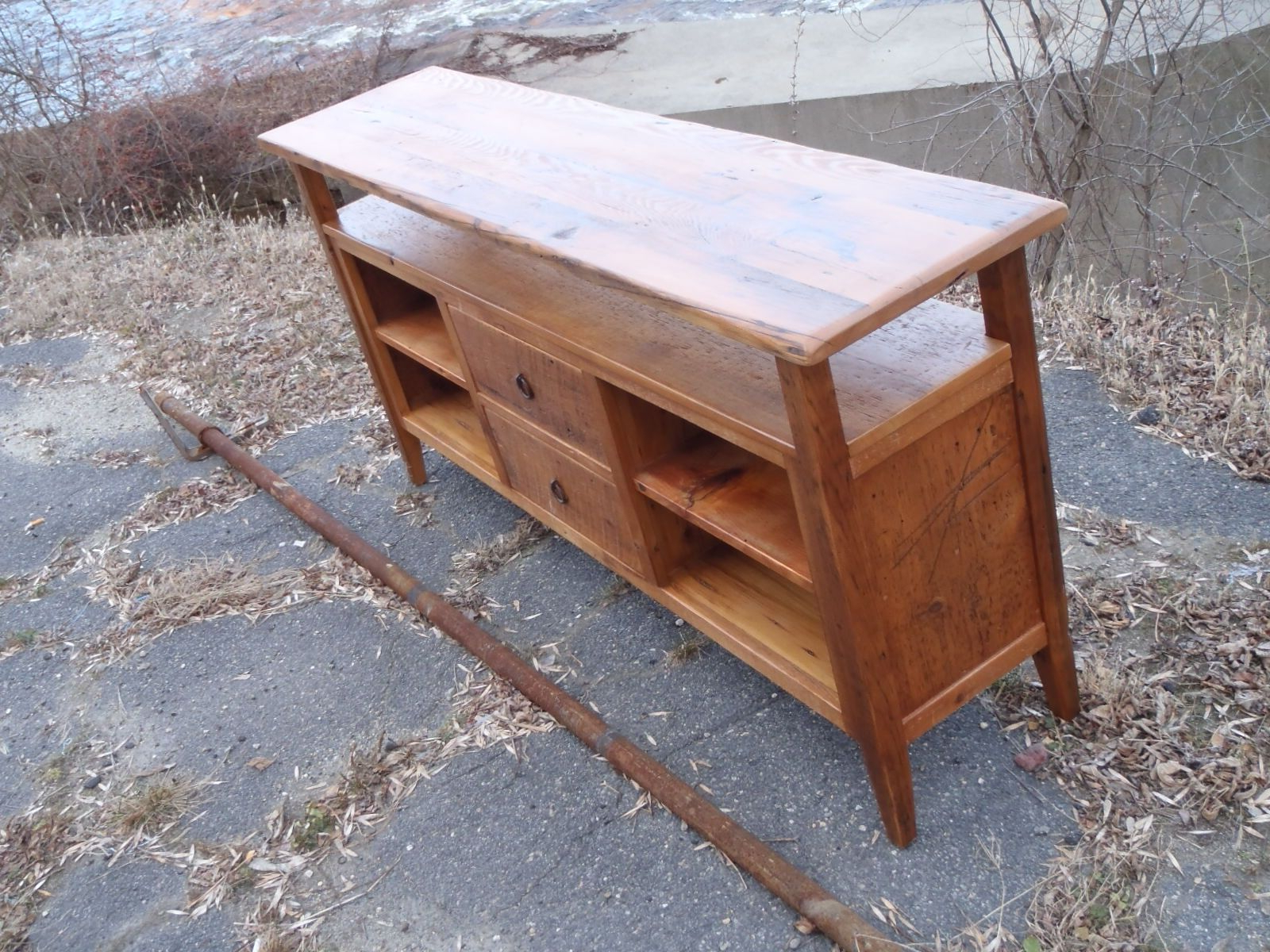 Well Known Maple Tv Stands For Flat Screens For Hand Crafted Reclaimed Pine Flat Screen Television Entertainment (View 17 of 20)