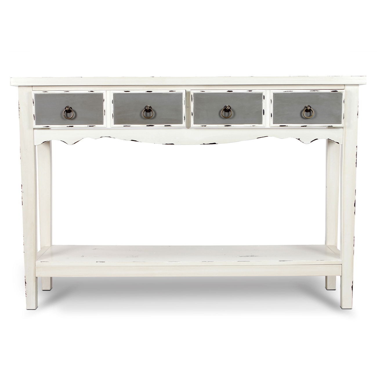 Well Known Modern Two Tone – Two Drawer Distressed Console Entryway Table Pertaining To Antique White Distressed Console Tables (View 18 of 20)