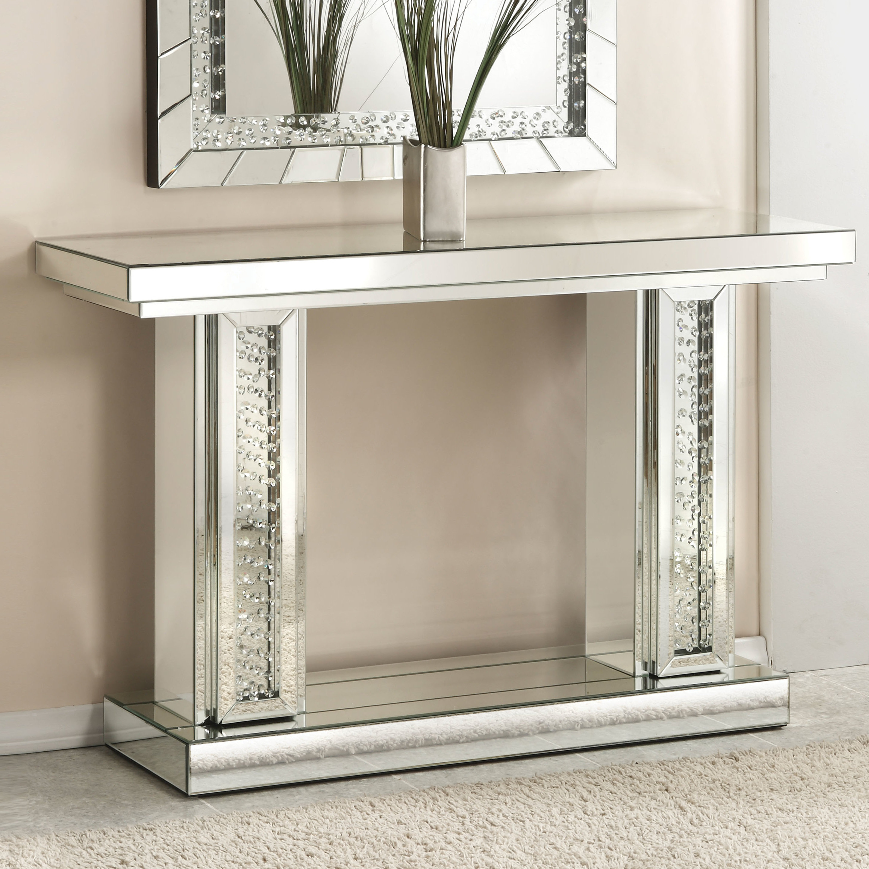Well Known Natural Wood Mirrored Media Console Tables Within Mirrored Console Tables You'll Love (View 19 of 20)