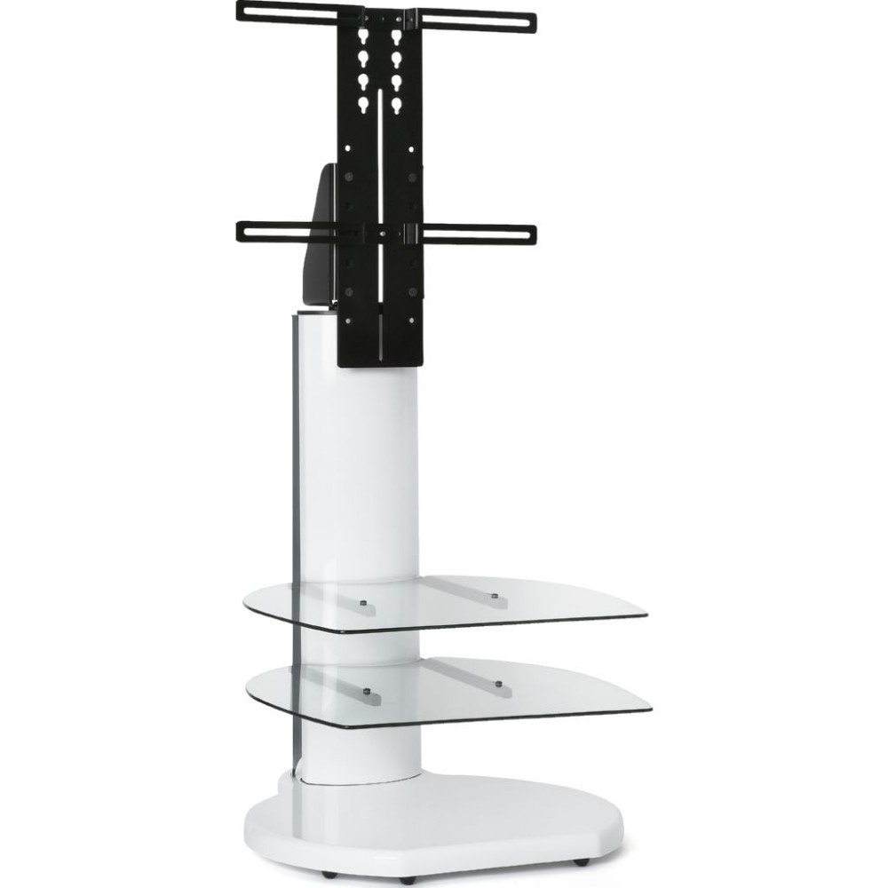 Well Known Off The Wall Origin Ii S4 White Large Round Tv Stand Clear Glass Pertaining To Off Wall Tv Stands (View 3 of 20)