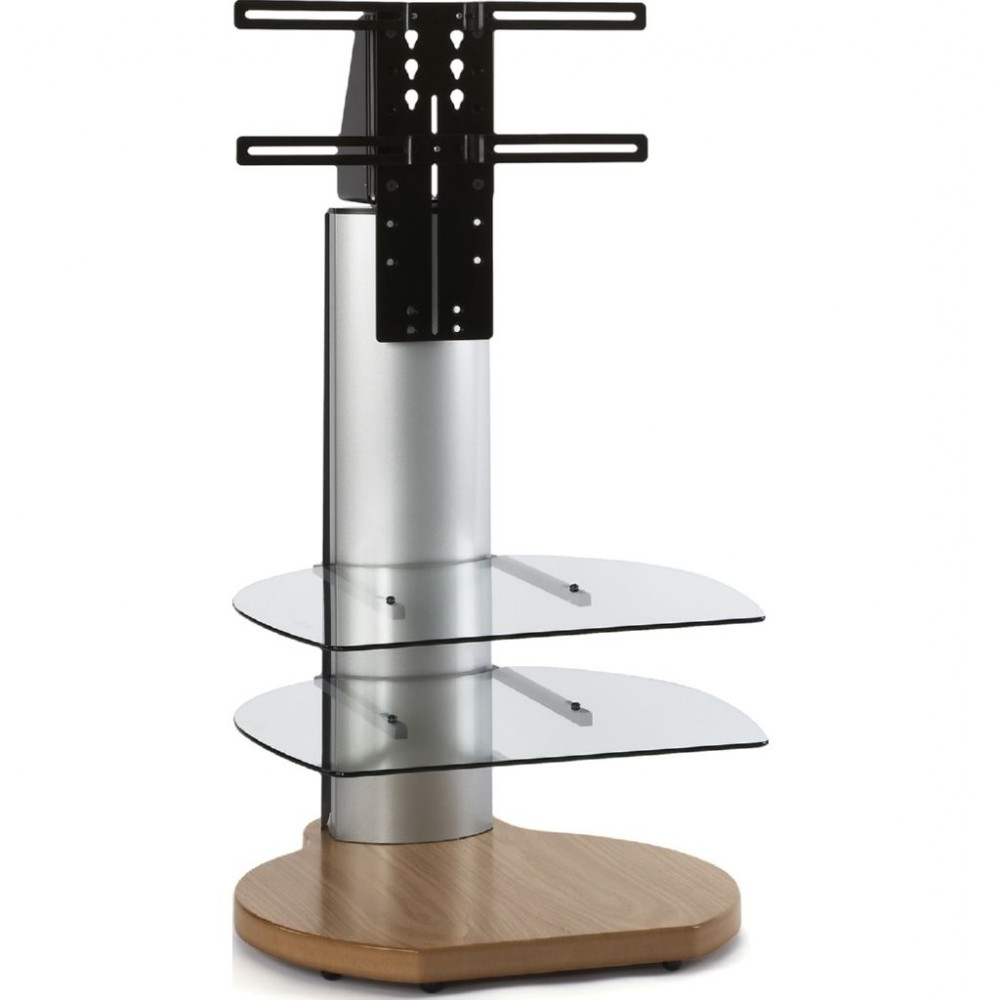 Well Known Off Wall Tv Stands With Off The Wall Origin Ii S3 Oak Base Small Round Tv Stand Silver Column Clear Glass (View 4 of 20)