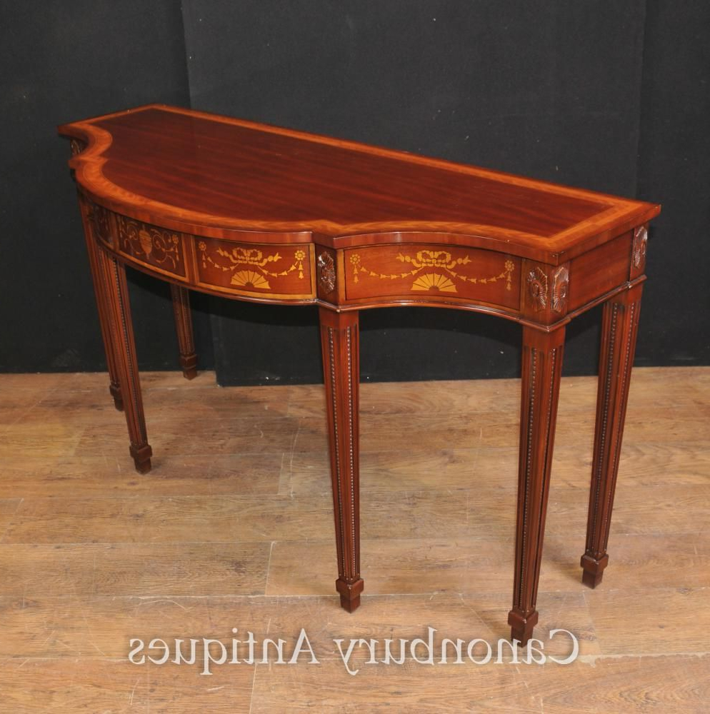 Well Known Orange Inlay Console Tables Inside Large Regency Breakfront Console Table In Mahogany Inlay Sheraton (View 19 of 20)