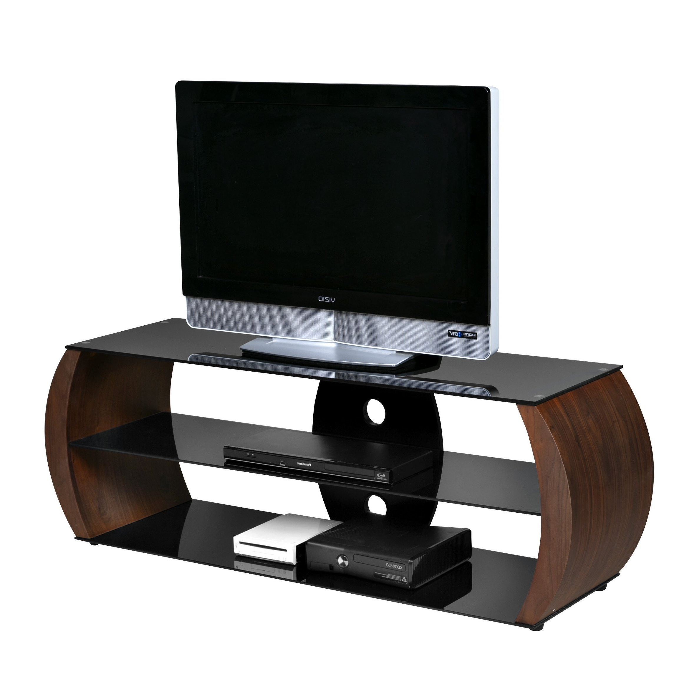 Well Known Oval Glass Tv Stands With Onespace Oval Walnut Veneer/wood/black Tempered Glass Tv Stand (View 20 of 20)