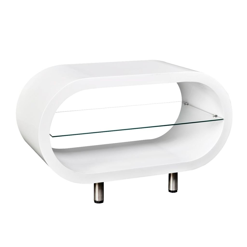 Well Known Oval White Tv Stands With Regard To Shop Vidaxl High Gloss White Tv Stand/coffee Table Oval – Free (View 17 of 20)