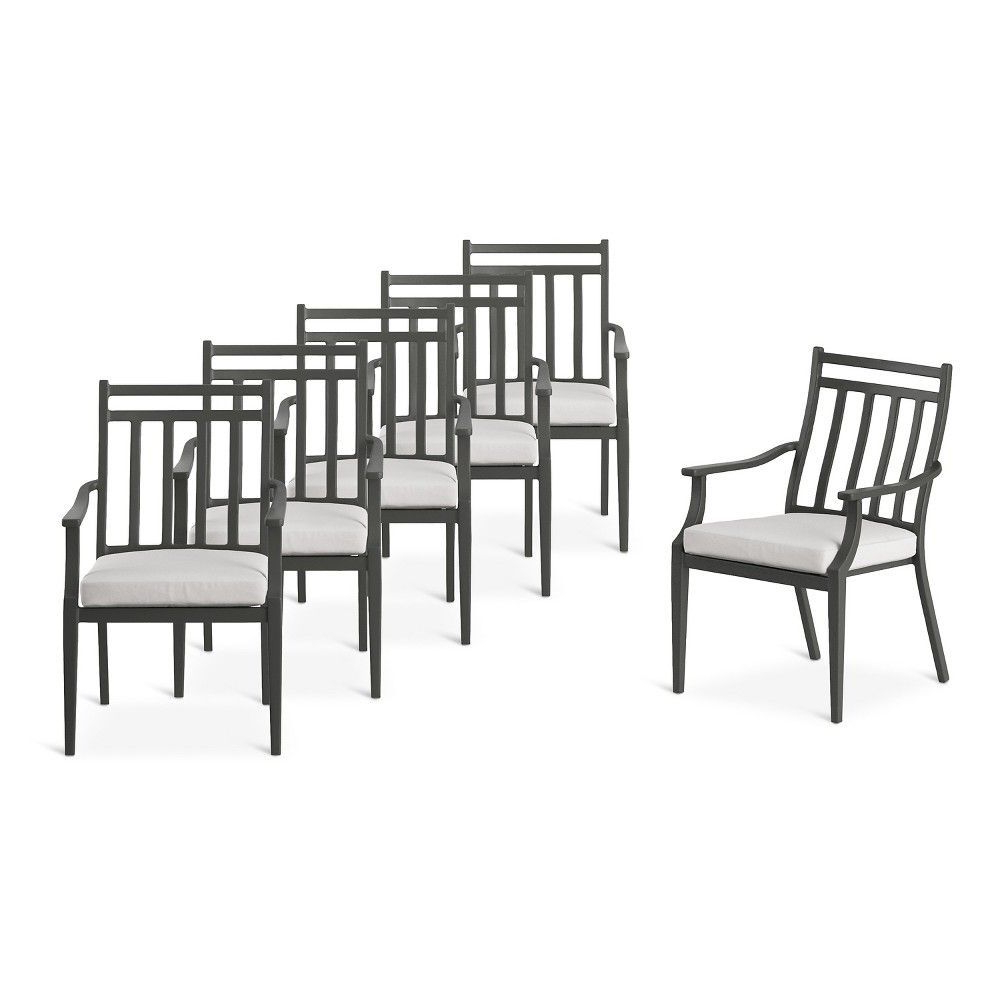 Well Known Parsons Black Marble Top & Stainless Steel Base 48X16 Console Tables Within Fairmont Steel 6Pc Patio Dining Chairs – Linen – Threshold (View 20 of 20)