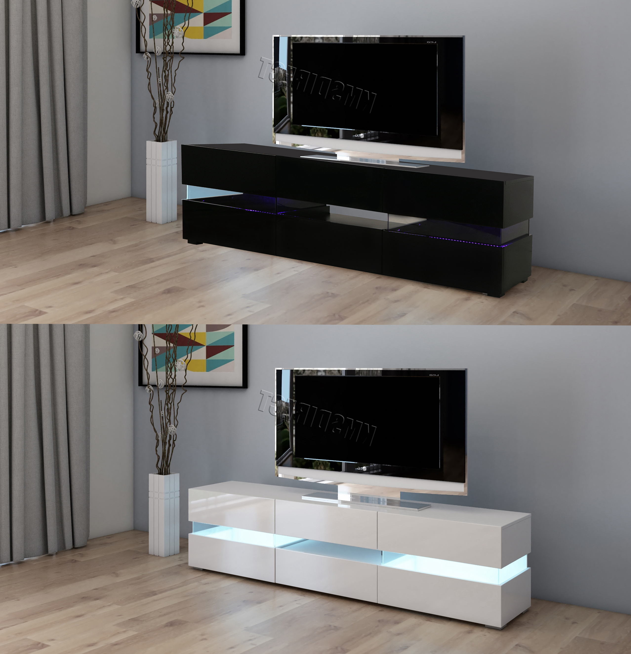 Well Known Red Gloss Tv Cabinets With Regard To Westwood Modern Led Tv Unit Stand Cabinet – High Gloss Doors Matte (View 14 of 20)