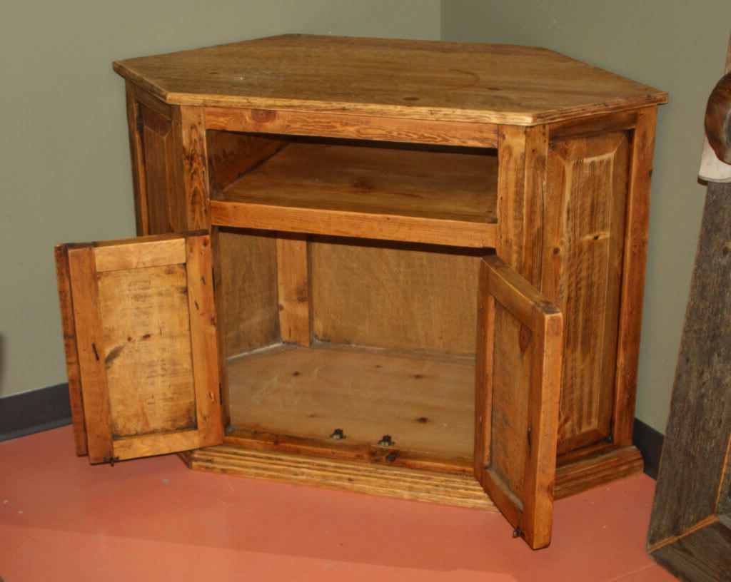Well Known Rustic Corner Tv Stands With Furniture: Vintage Rustic Wood Tv Stand Featuring Unique Carved (Gallery 20 of 20)