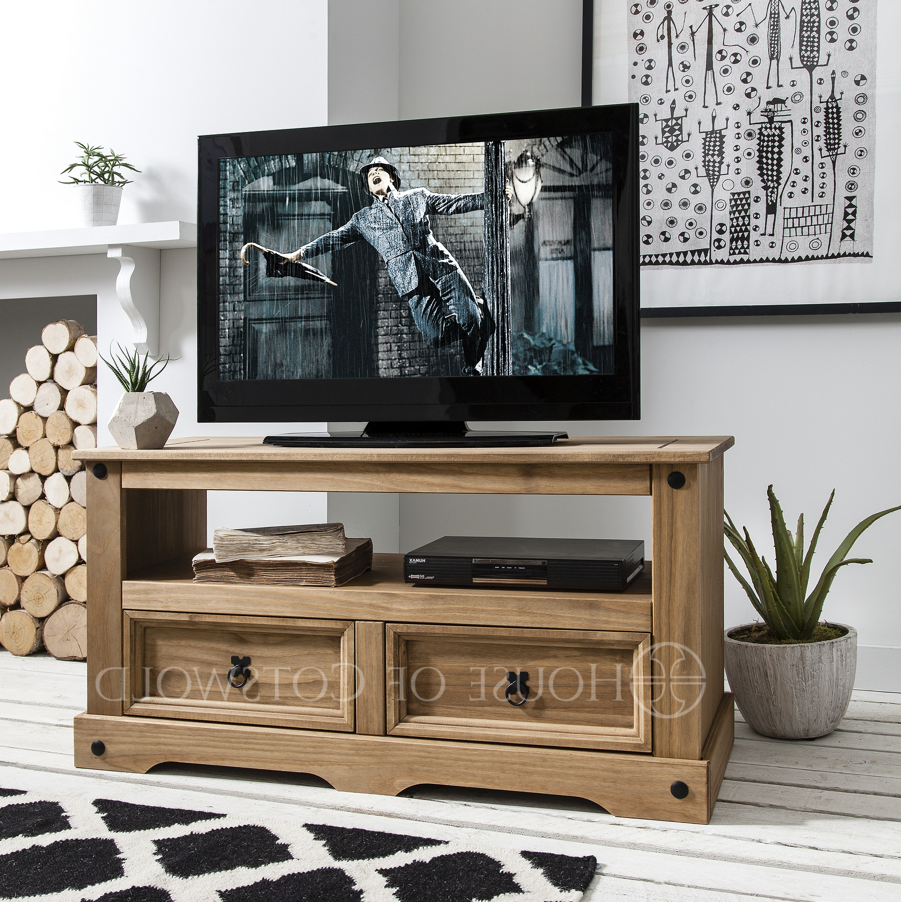 Well Known Rustic Pine Tv Cabinets Pertaining To Home Design & Gardening: Fantastic Rustic Pine Tv Stand As Wooden Tv (View 20 of 20)