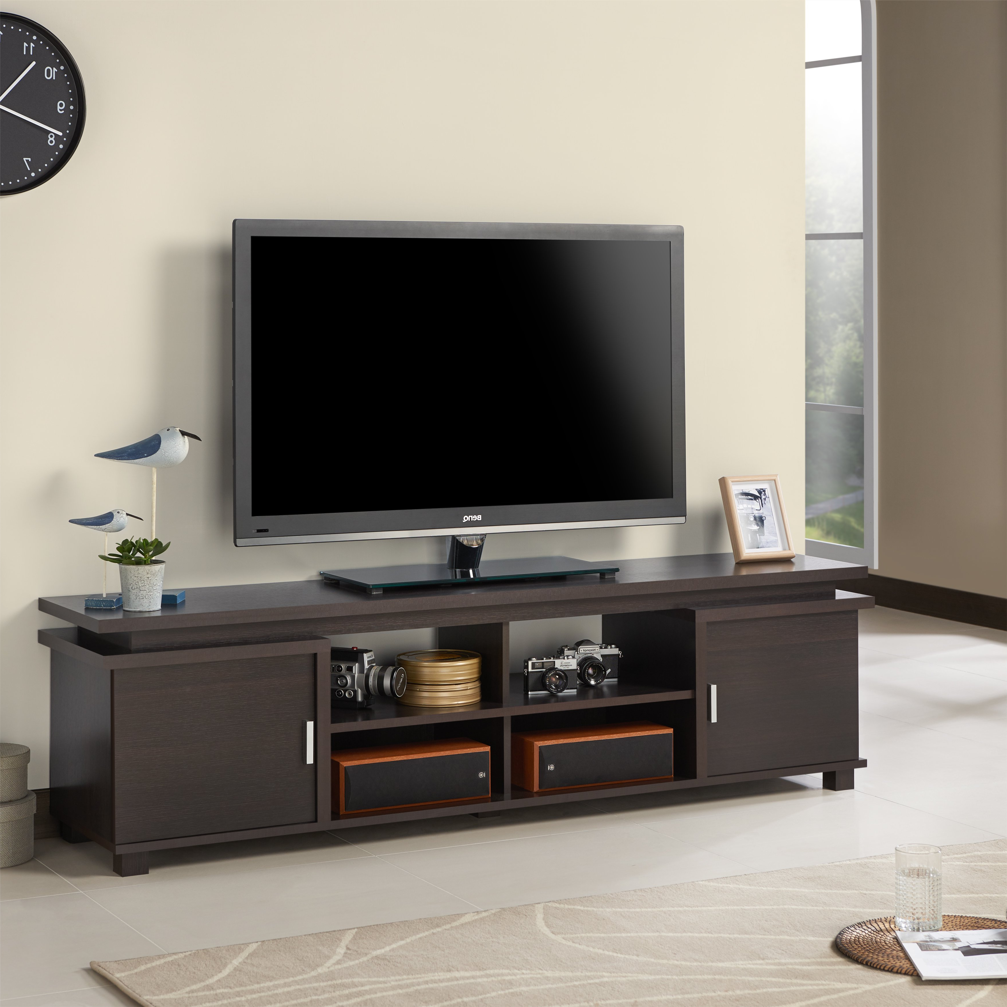 Well Known Shop Furniture Of America Mollens Espresso Open Storage 70 Inch Tv Throughout 61 Inch Tv Stands (View 19 of 20)