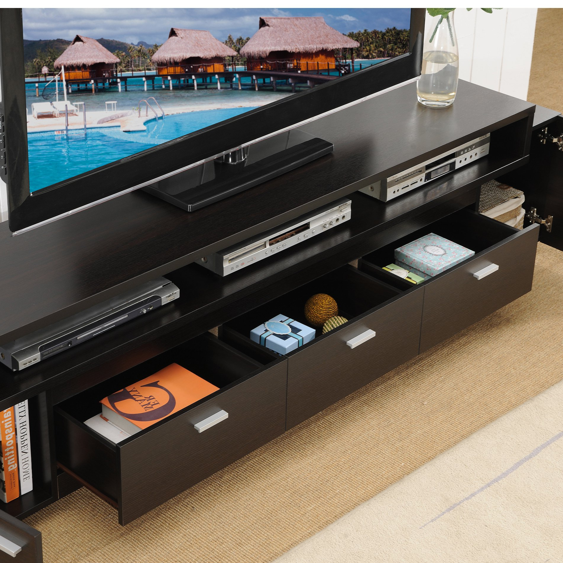 Well Known Shop Porch & Den Hubbard 84 Inch Tiered Tv Stand – On Sale – Free With Ducar 84 Inch Tv Stands (View 15 of 20)