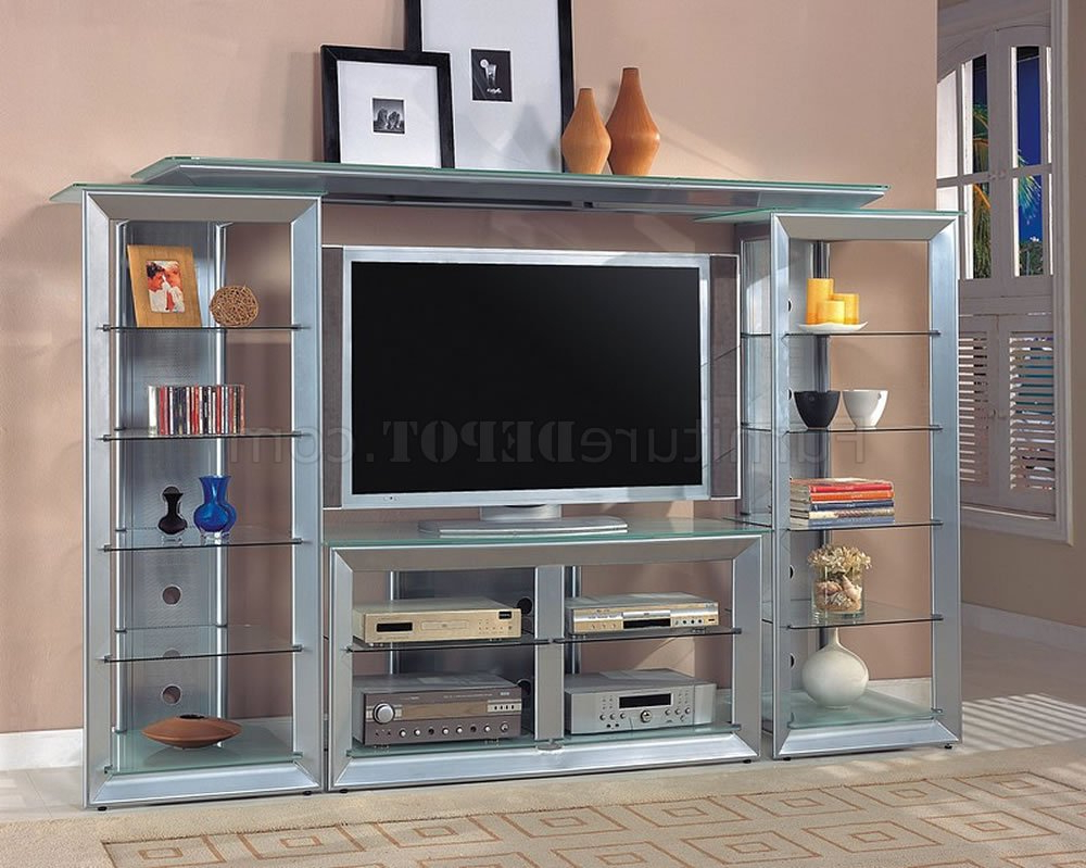 Well Known Silver Color Contemporary Tv Stand W/glass Shelves Inside Contemporary Glass Tv Stands (View 8 of 20)