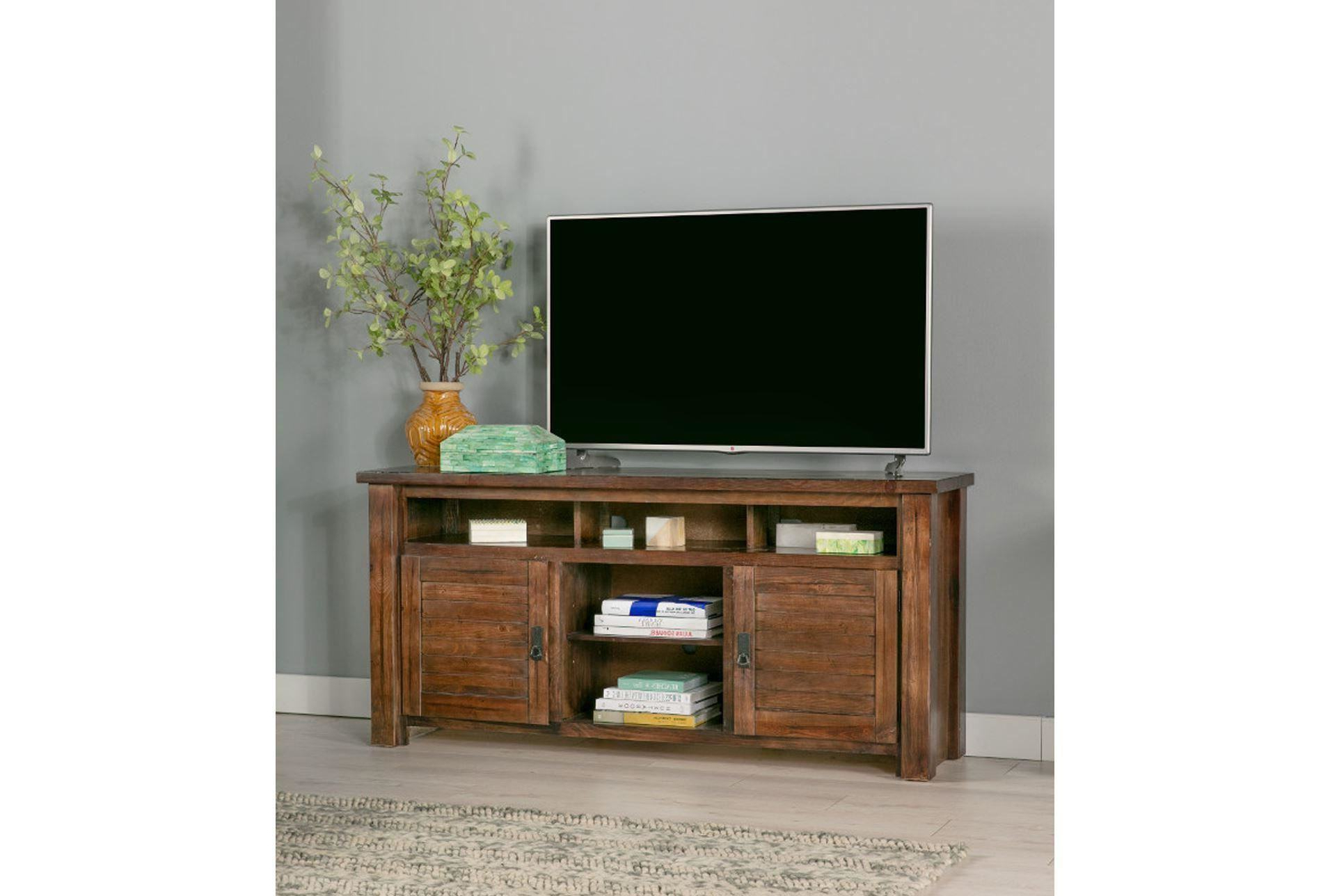 Well Known Sinclair Grey 64 Inch Tv Stands Pertaining To Trendy Canyon 74 Inch Tv Stand Living Spaces Tv Stand (View 20 of 20)