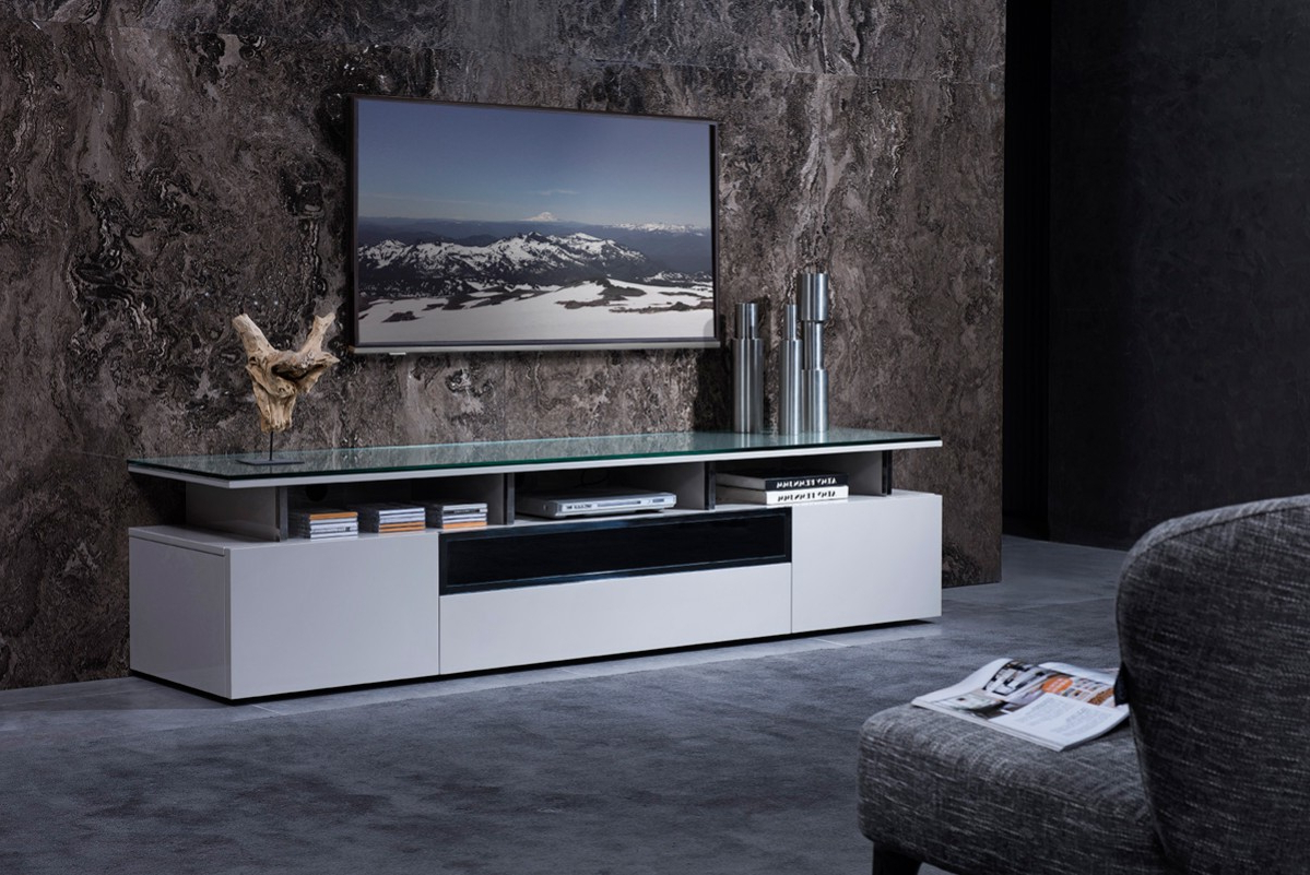 Well Known Stylish Tv Cabinets Throughout Grey Lacquer Living Room Tv Stand With Glass Top Chicago Illinois (View 9 of 20)