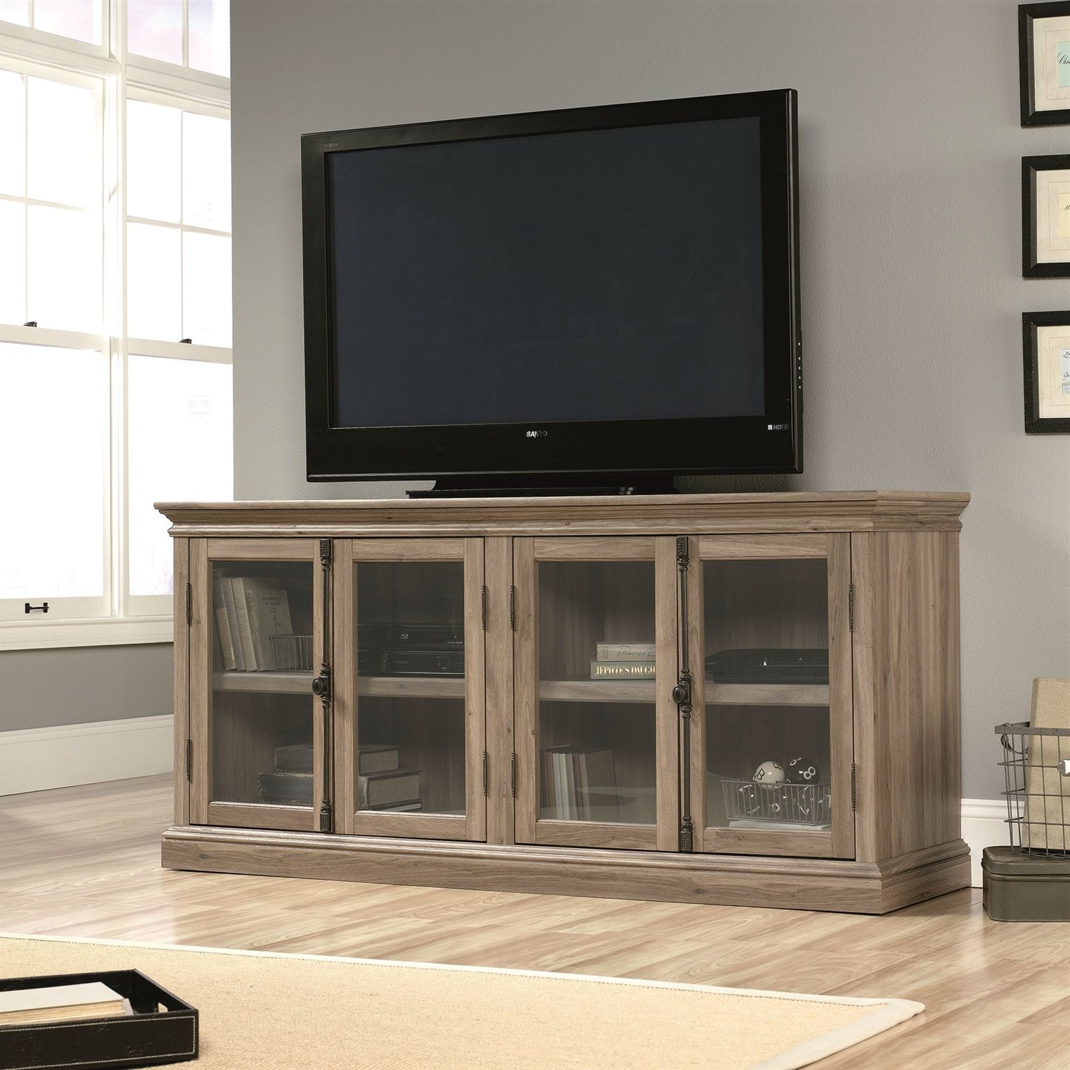 Well Known Tv Cabinets With Glass Doors With This Salt Oak Wood Finish Tv Stand With Tempered Glass Doors – Fits (View 12 of 20)