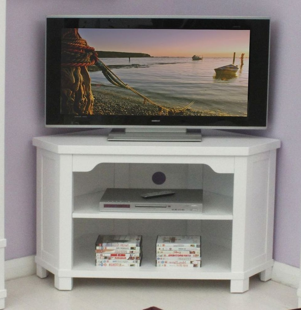 Well Known Tv Stands Corner Units Pertaining To Hampton White Painted Solid Ash Furniture Corner Television Cabinet (View 20 of 20)