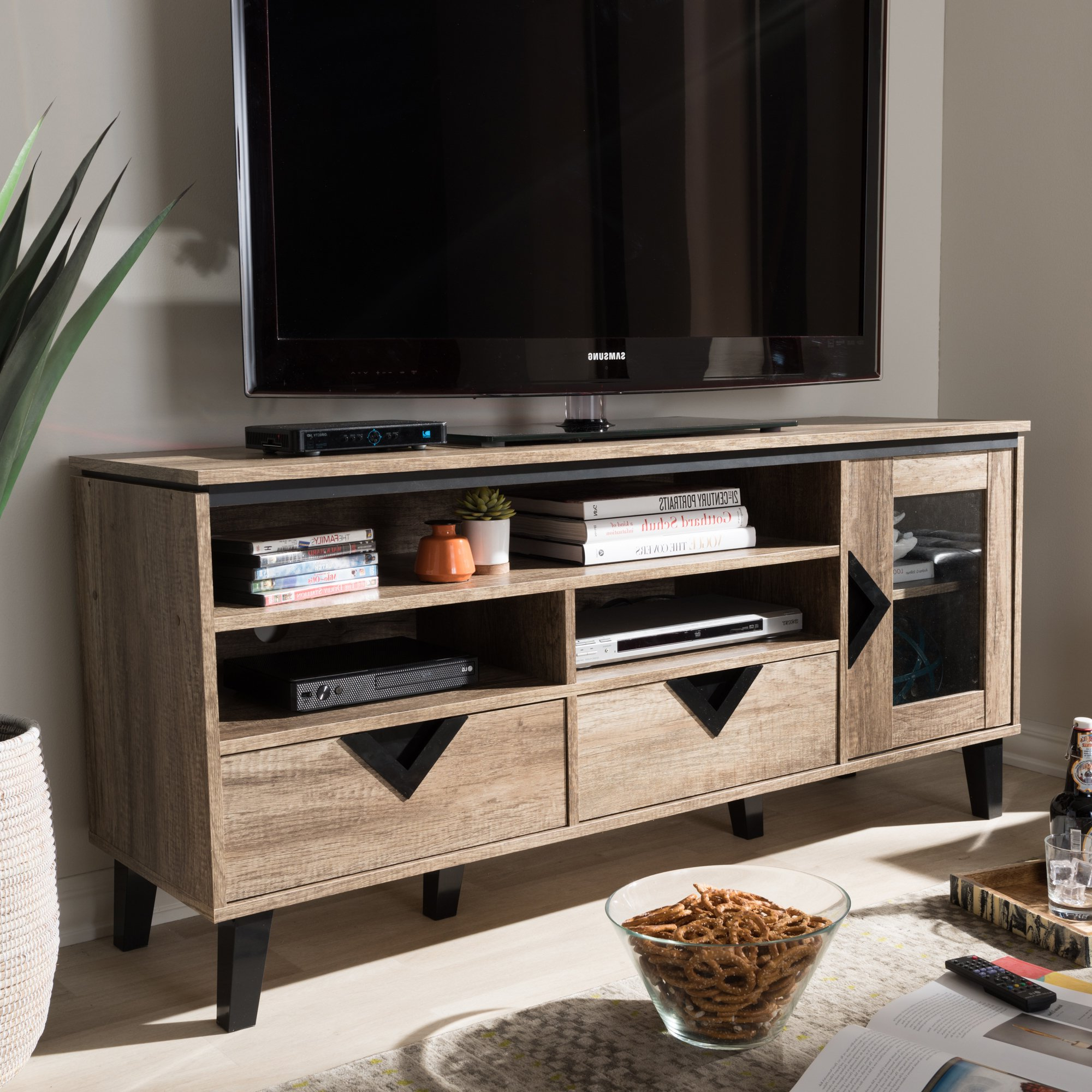 Well Known Tv Stands For 55 Inch Tv Pertaining To Shop Contemporary Light Brown Wood 2 Drawer 55 Inch Tv Stand (View 17 of 20)