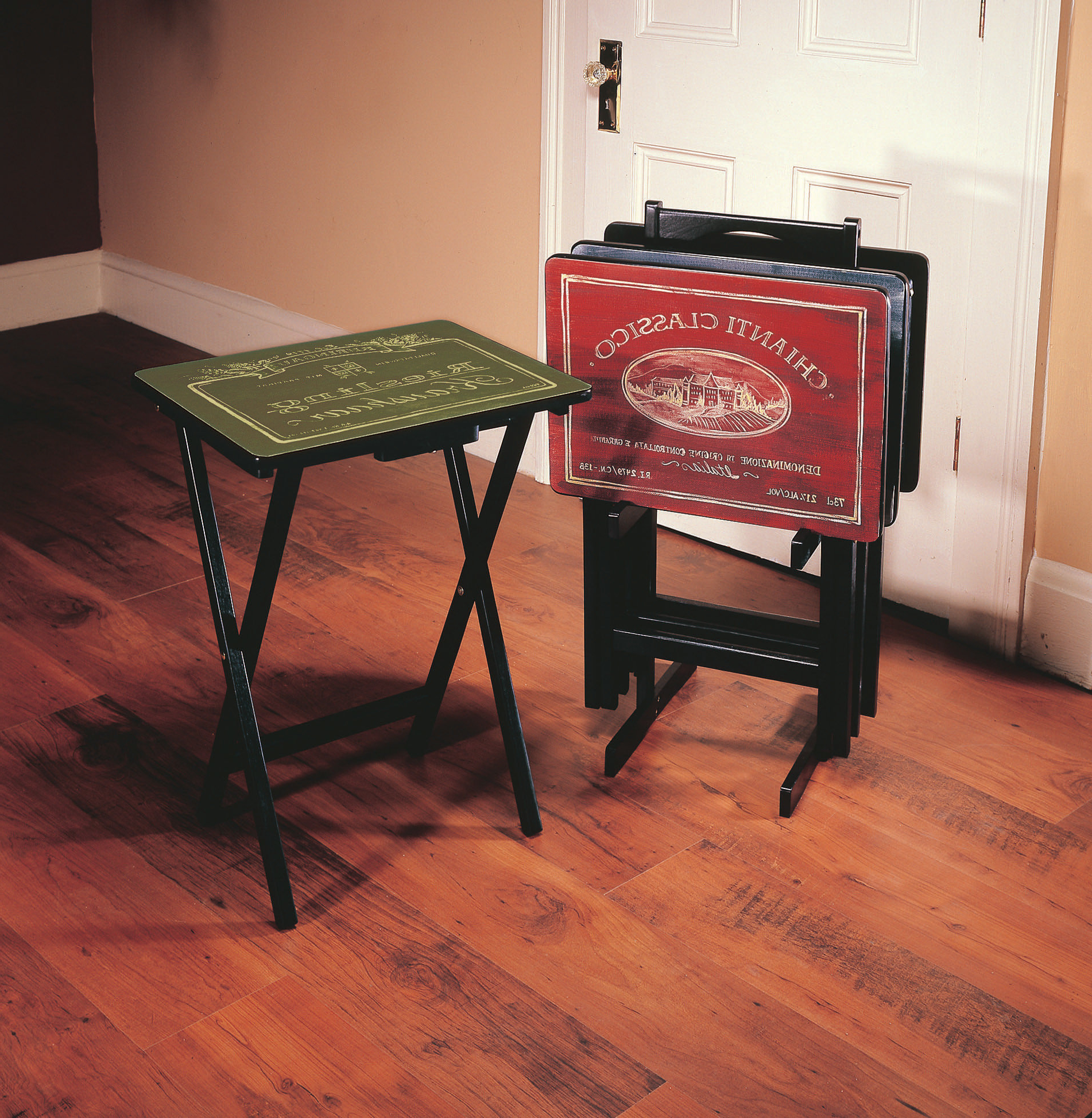 Well Known Tv Tray Set With Stands With Regard To Alvina Wine Label Tv Tray Set With Stand (set Of 4) (View 9 of 20)