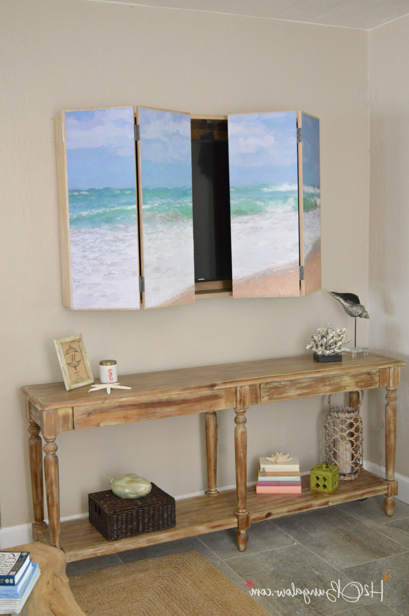 Well Known Tv Wall Cabinets Throughout Diy Wall Mounted Tv Cabinet With Free Plans – H2obungalow (Gallery 18 of 20)