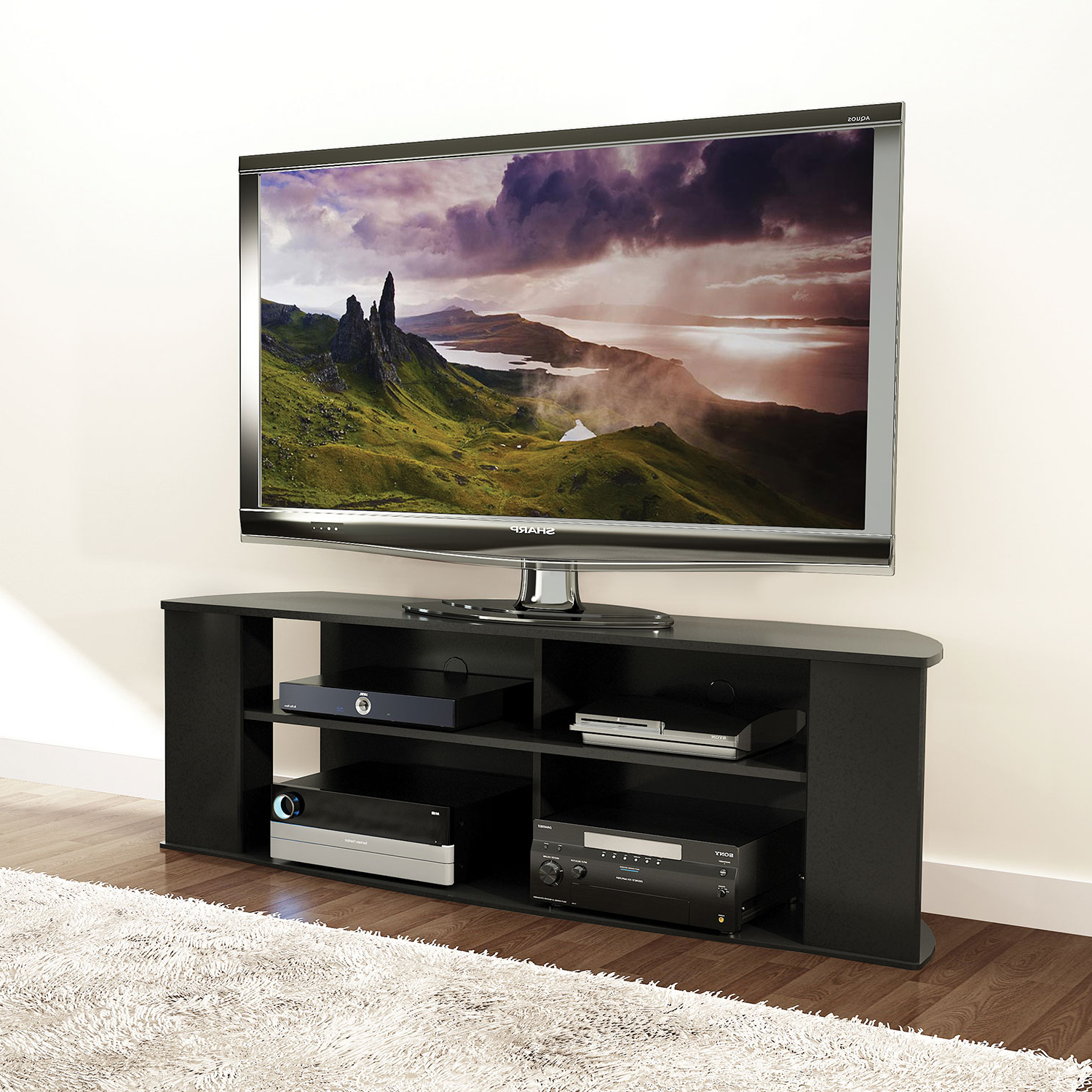 """Well Known Valencia 70 Inch Tv Stands In Prefac Essentials 60"""" Tv Stand – Black : Tv Stands – Best Buy Canada (Gallery 7 of 20)"""