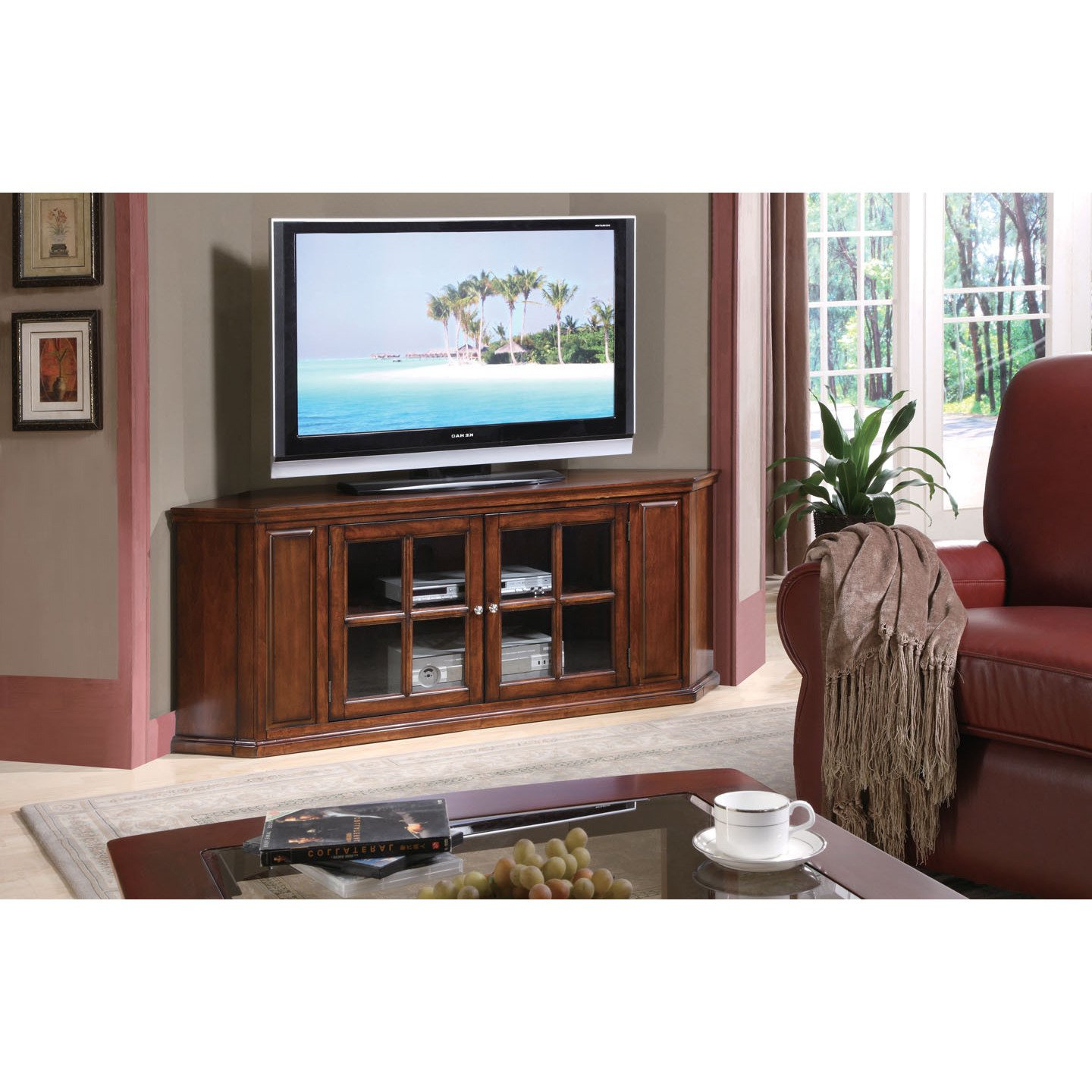 Well Known Walnut Corner Tv Stands Inside Shop Malka Corner Tv Stand, Oak – Free Shipping Today – Overstock (View 13 of 20)