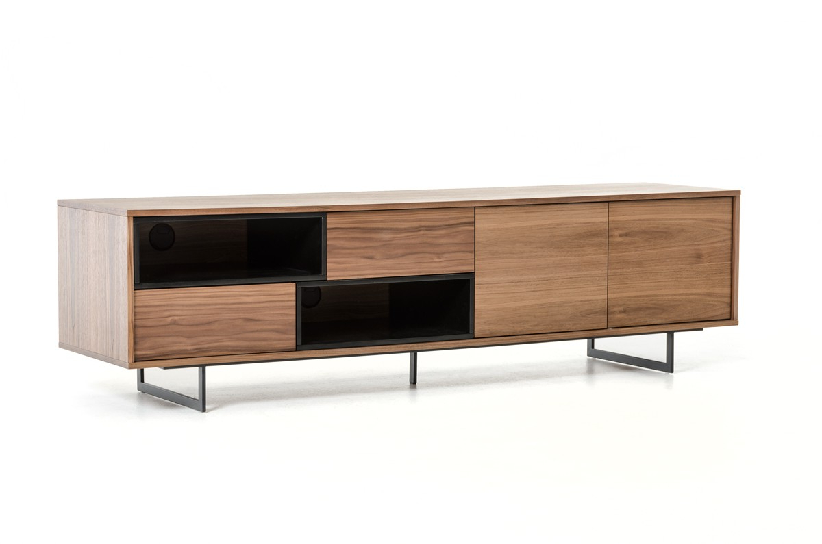 Well Known Walnut Tv Stands For Walnut Tv Stand Media Storage With Drawers And Doors (View 15 of 20)