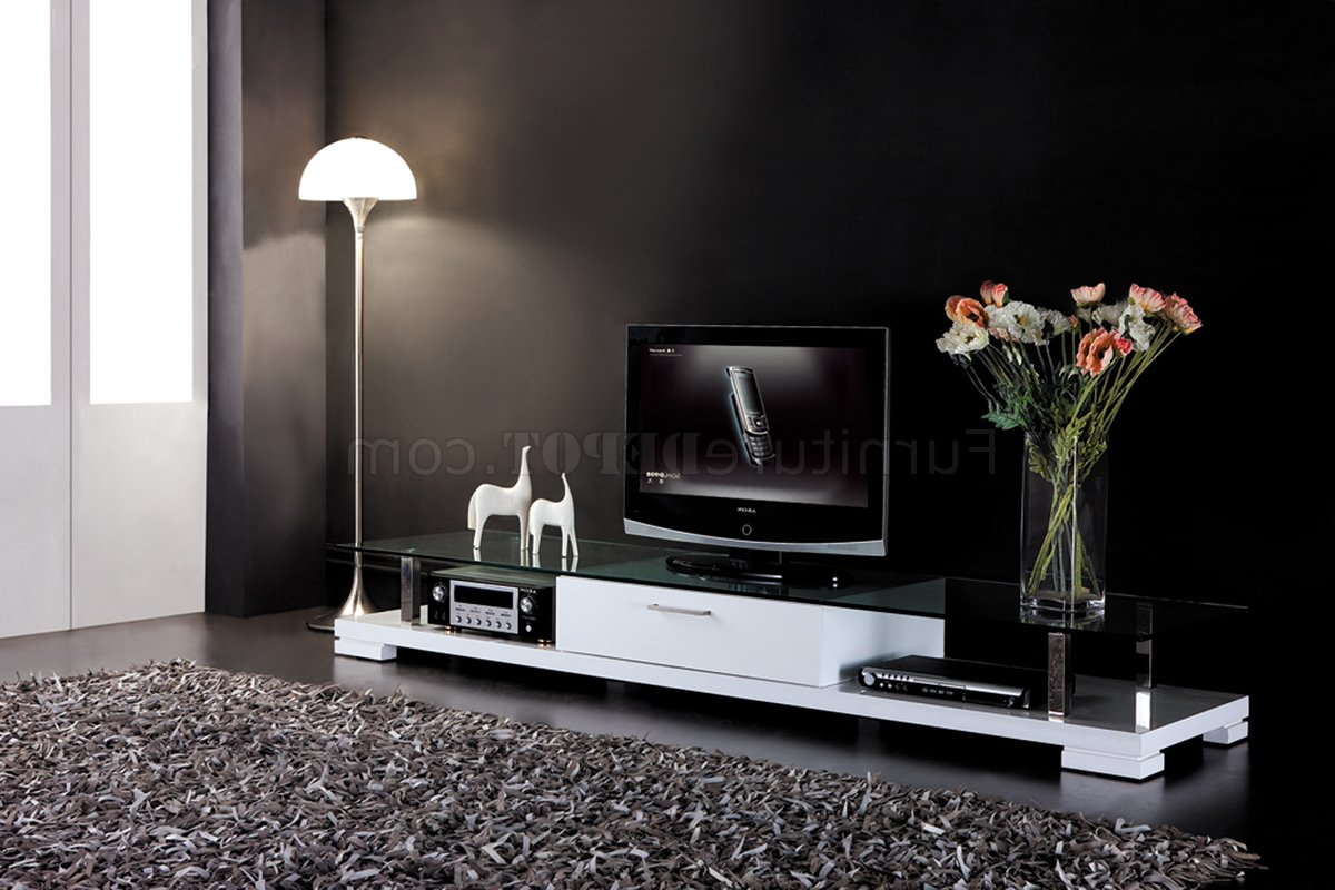 Well Known White Modern Tv Stands Pertaining To White Finish Modern Tv Stand W/drawer & Clear Glass Top (View 7 of 20)