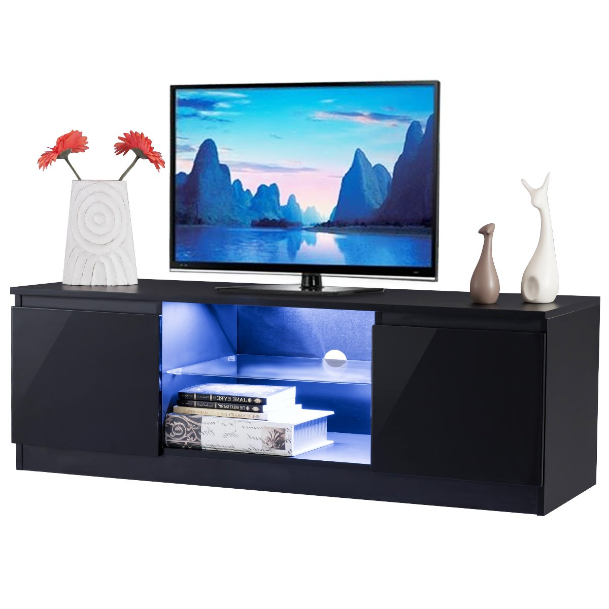 Well Known Willa 80 Inch Tv Stands Within Amazon: Tangkula Tv Stand Modern High Gloss Media Console (View 12 of 20)