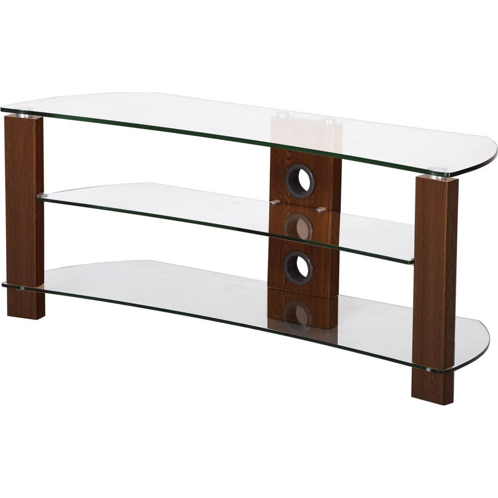 Well Known Wood Tv Stand With Glass Intended For 3 Shelves, Curved Clear Glass Tv Stand – Tv Stands – Brackets (View 5 of 20)