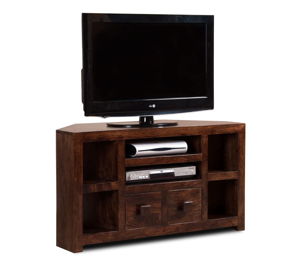 Well Known Wooden Corner Tv Units Pertaining To Dakota Dark Mango Corner Tv Unit (View 17 of 20)