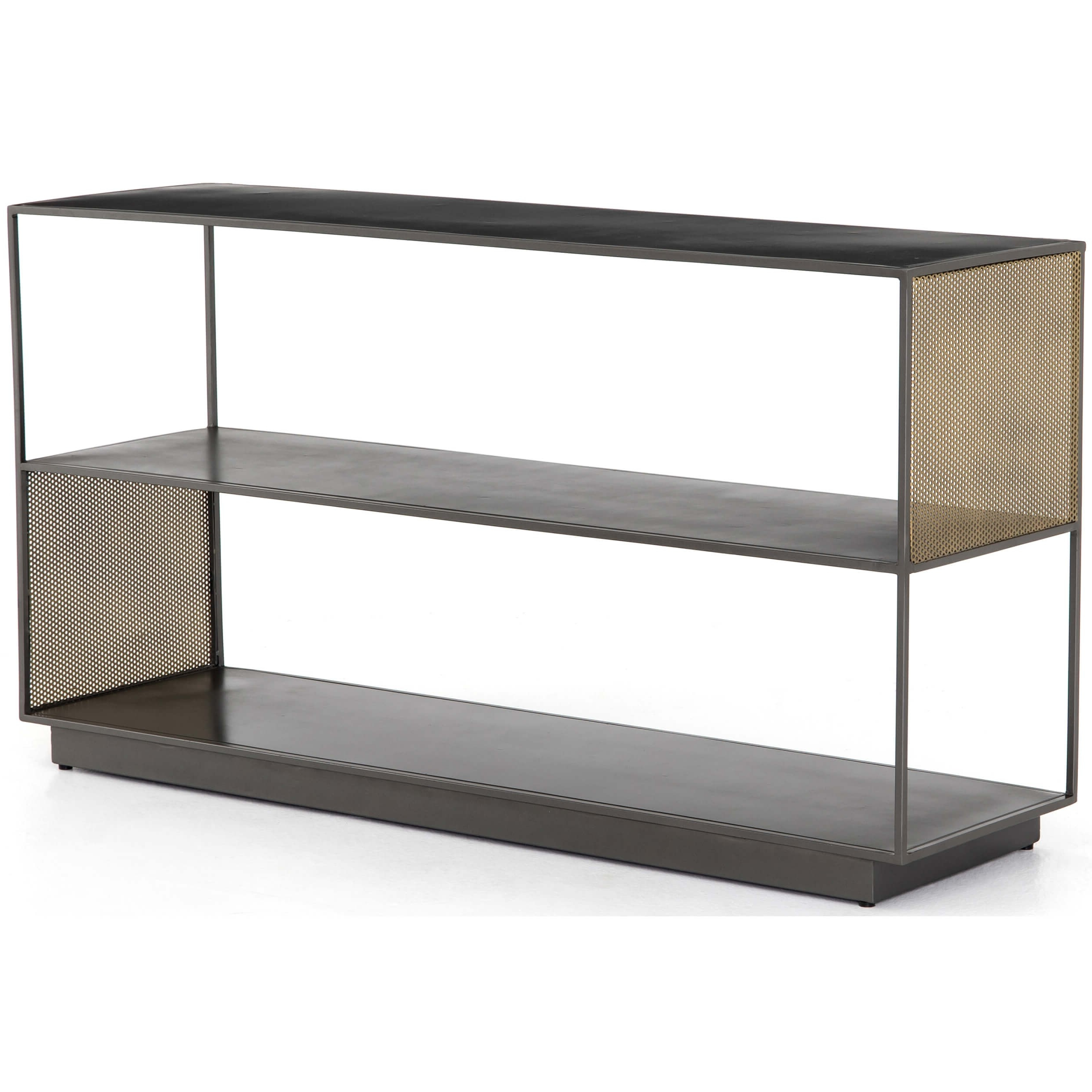 Well Known Zadie Media Console – Media – Storage – Furniture Throughout Gunmetal Perforated Brass Media Console Tables (View 12 of 20)
